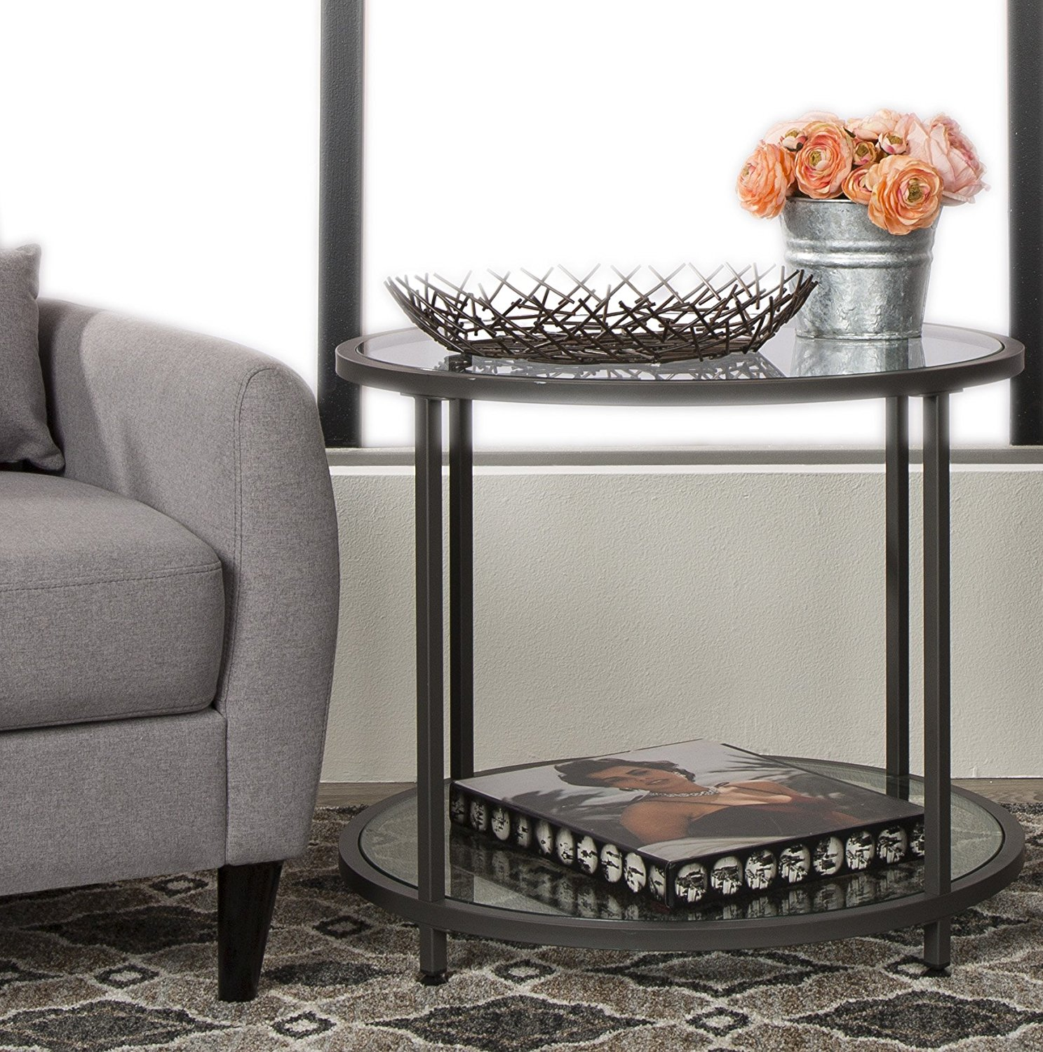Studio Designs Camber Round Modern Living Room Accent Side Table - Pewter glass coffee table