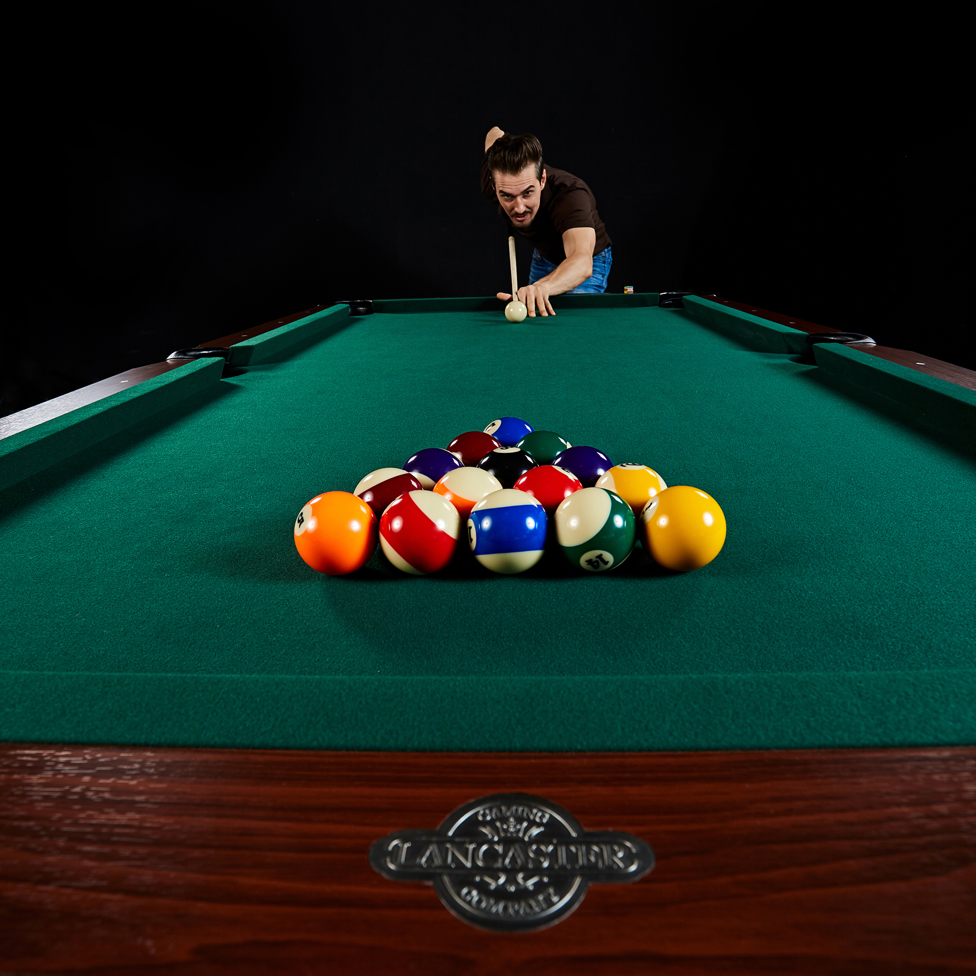 Lancaster 90 Inch Traditional Full Size Billiard Pool Table Set W Accessories