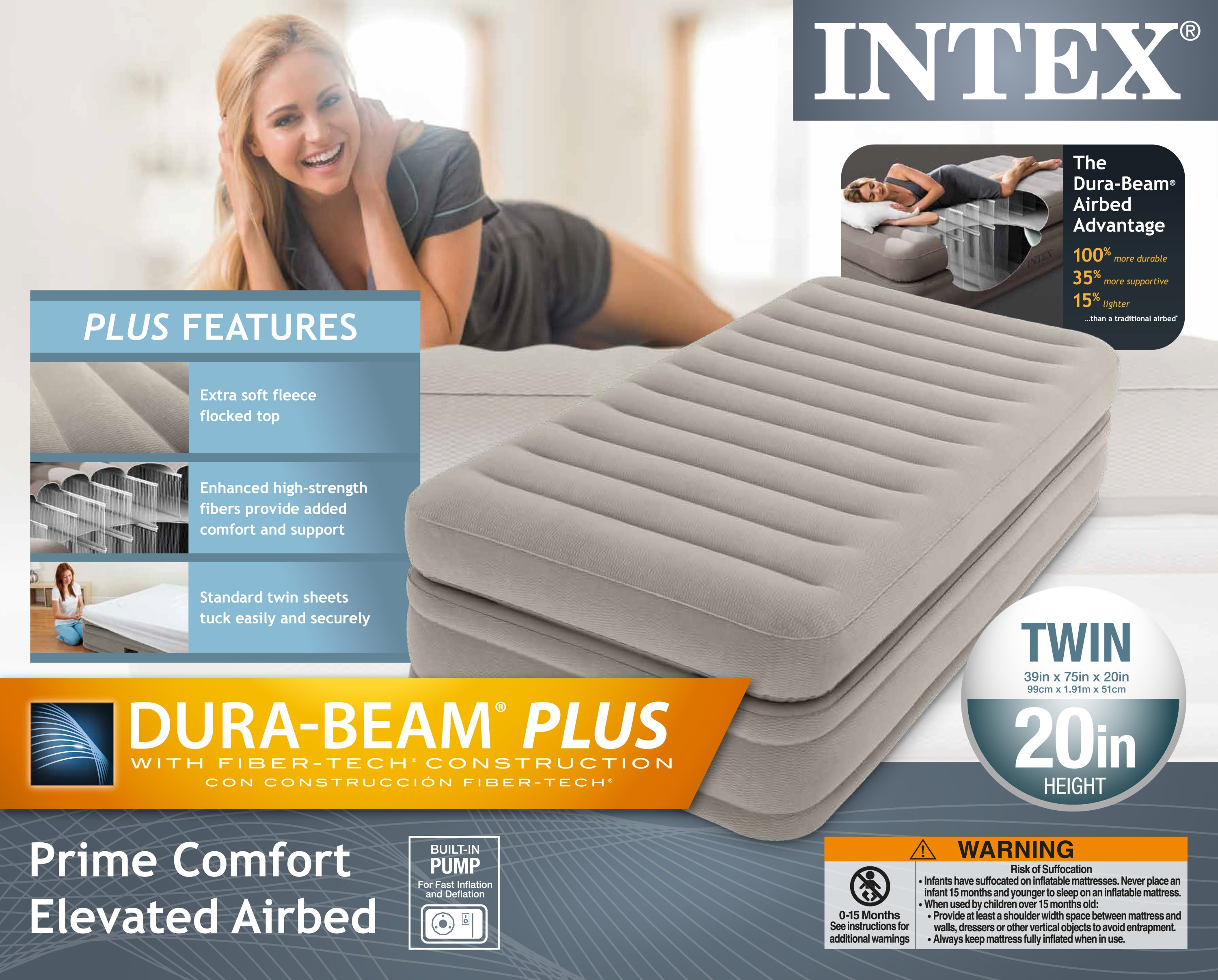 Intex Inflatable Prime Comfort Elevated Twin Airbed With