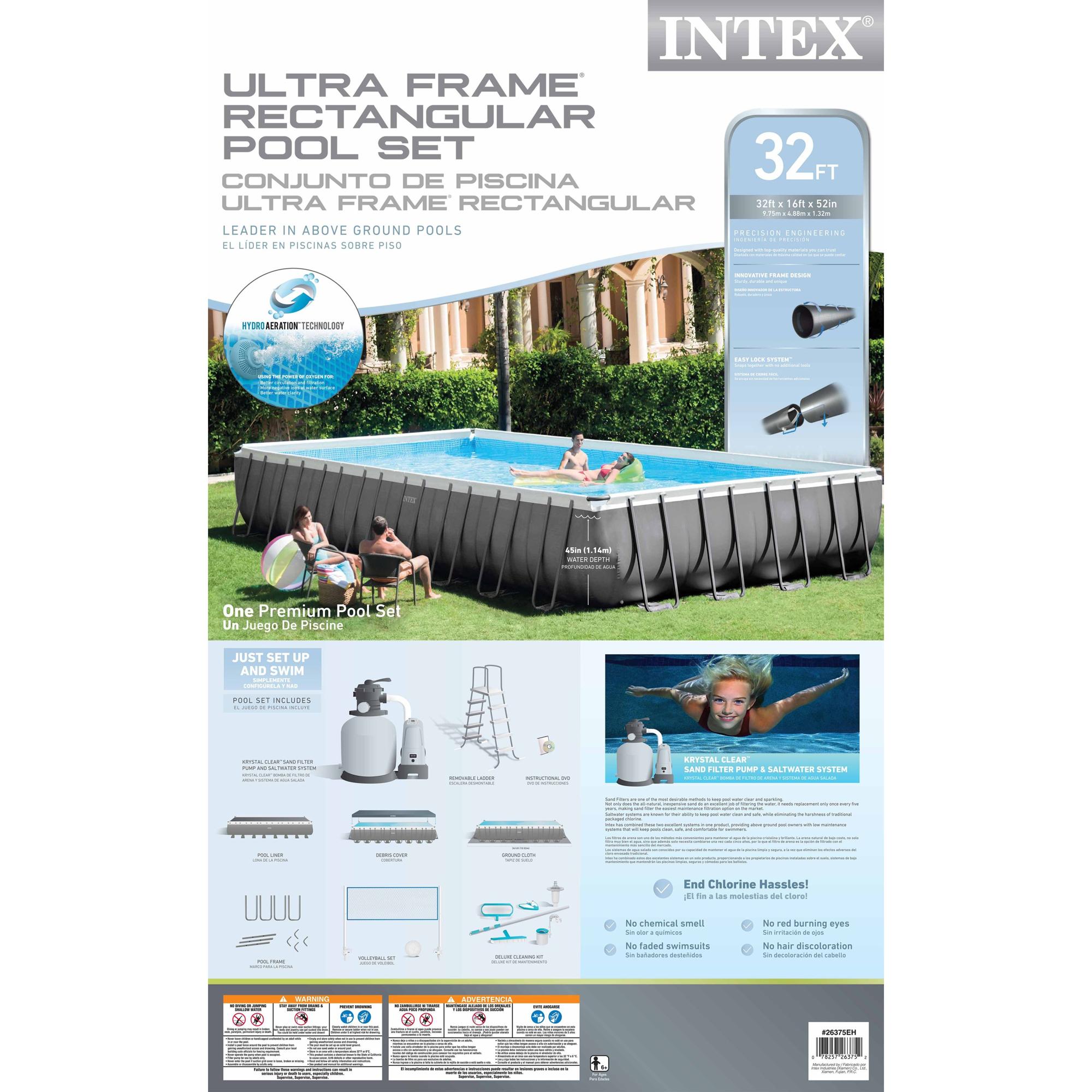 Intex 32\' x 16\' x 4.3\' Ultra Frame Above Ground Swimming Pool Set ...