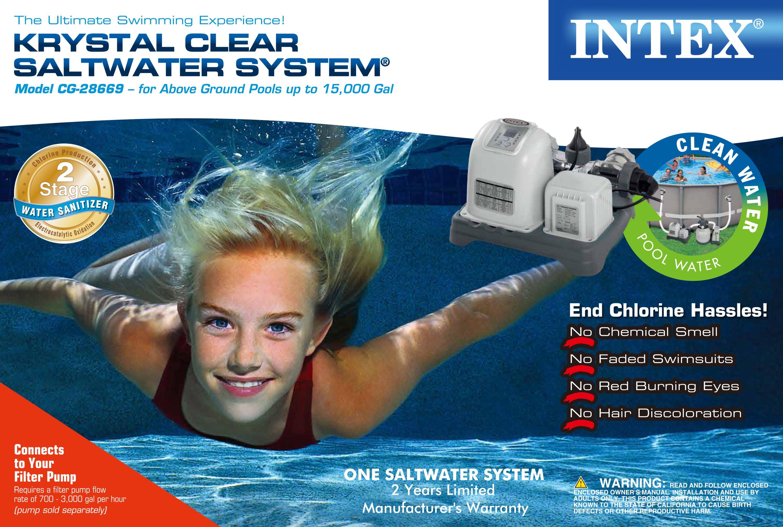 Intex Krystal Clear Saltwater System Ground Pool Chlorinator