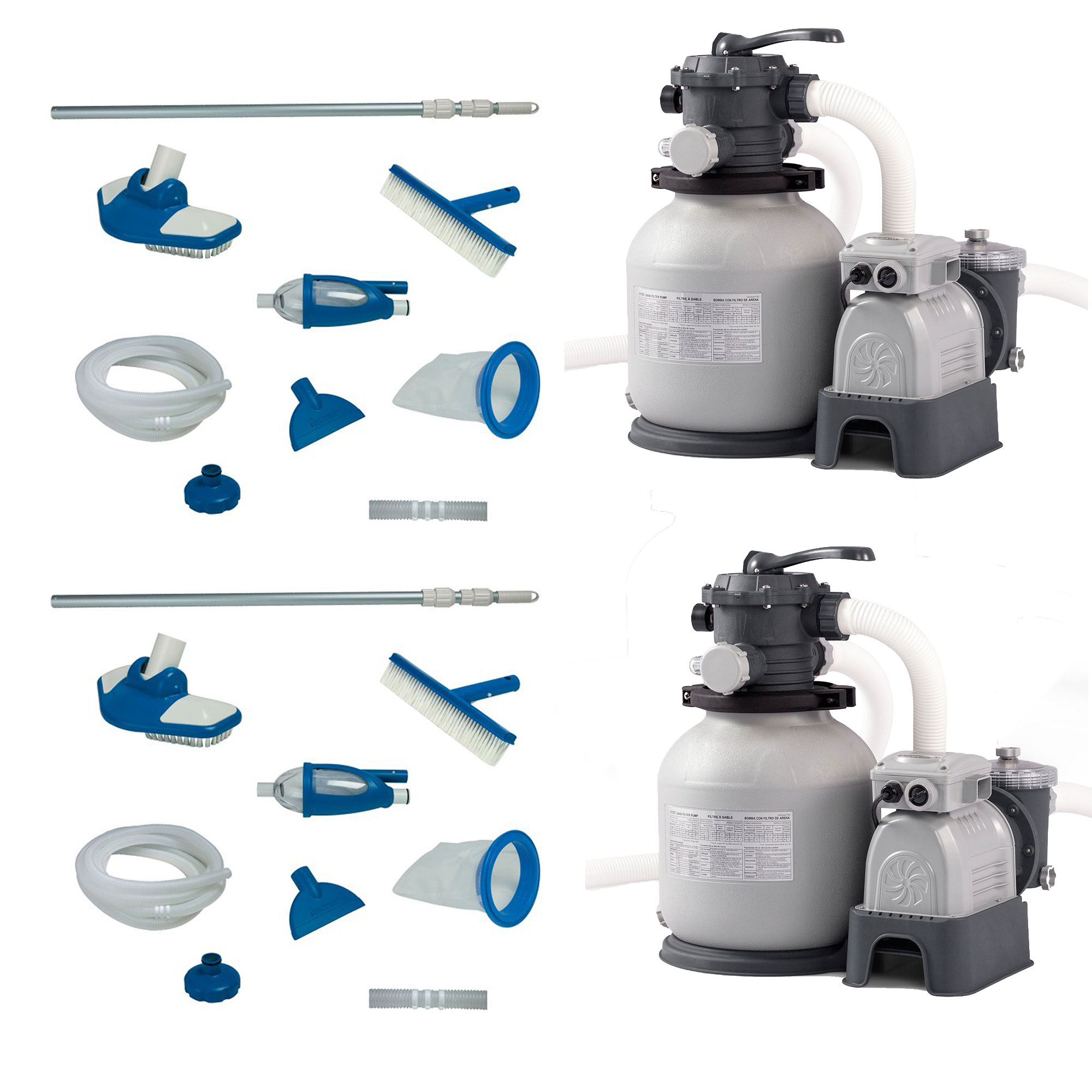 Intex Pool Maintenance Kit W Vacuum Pole 2 Pack Sand Filter Pump