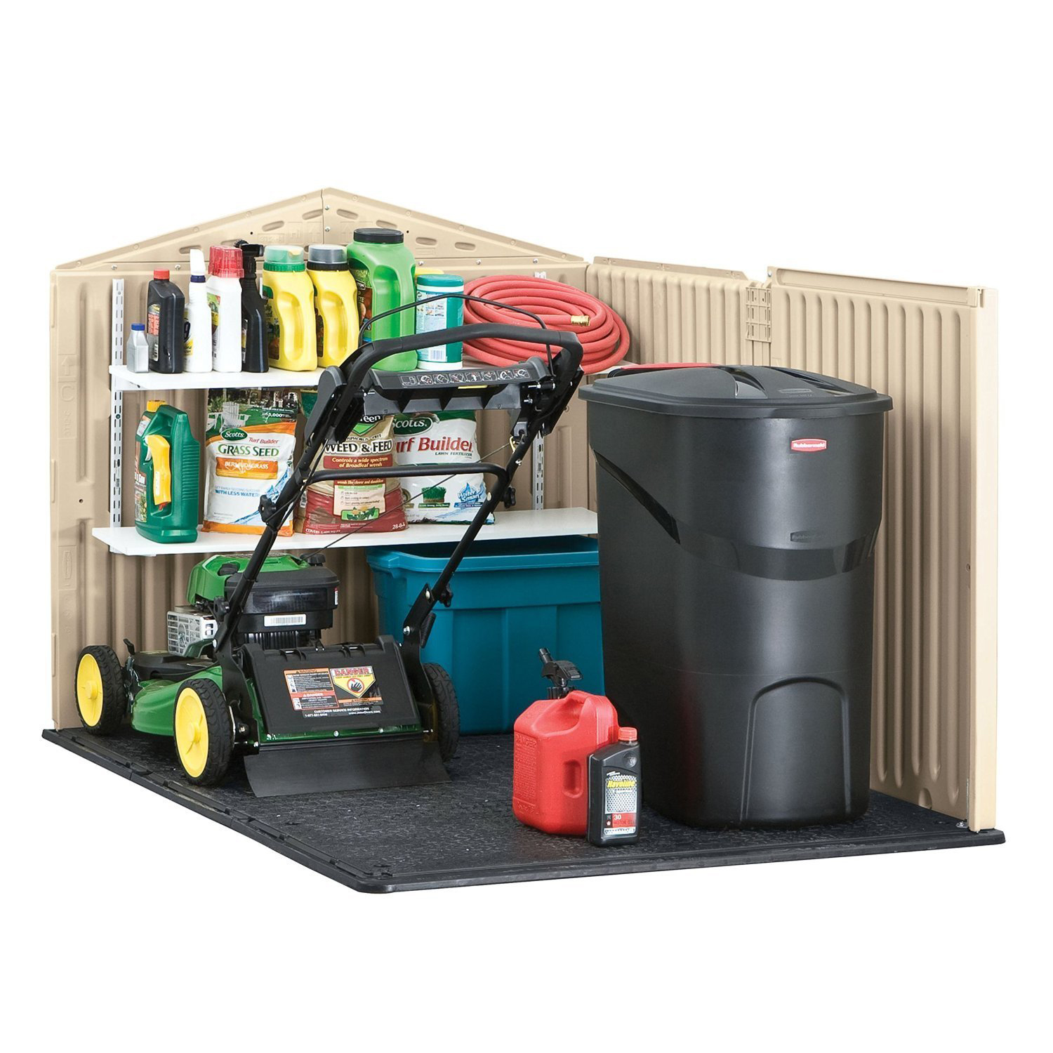 Rubbermaid 96 Cubic Feet Low Profile Slide Lid Outdoor Storage Shed
