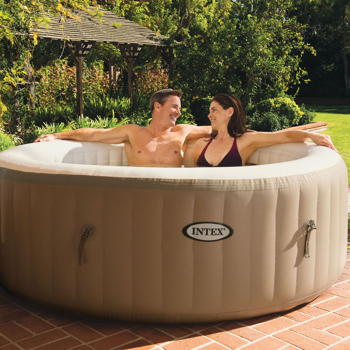 Intex PureSpa 4-Person Inflatable Bubble Jet Spa Portable Hot Tub ...