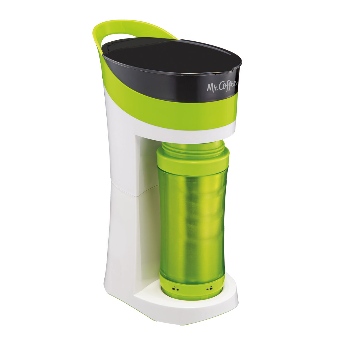 Mr. Coffee Pour! Brew! Go! Personal Grounds Coffee Maker with Travel Mug, Green