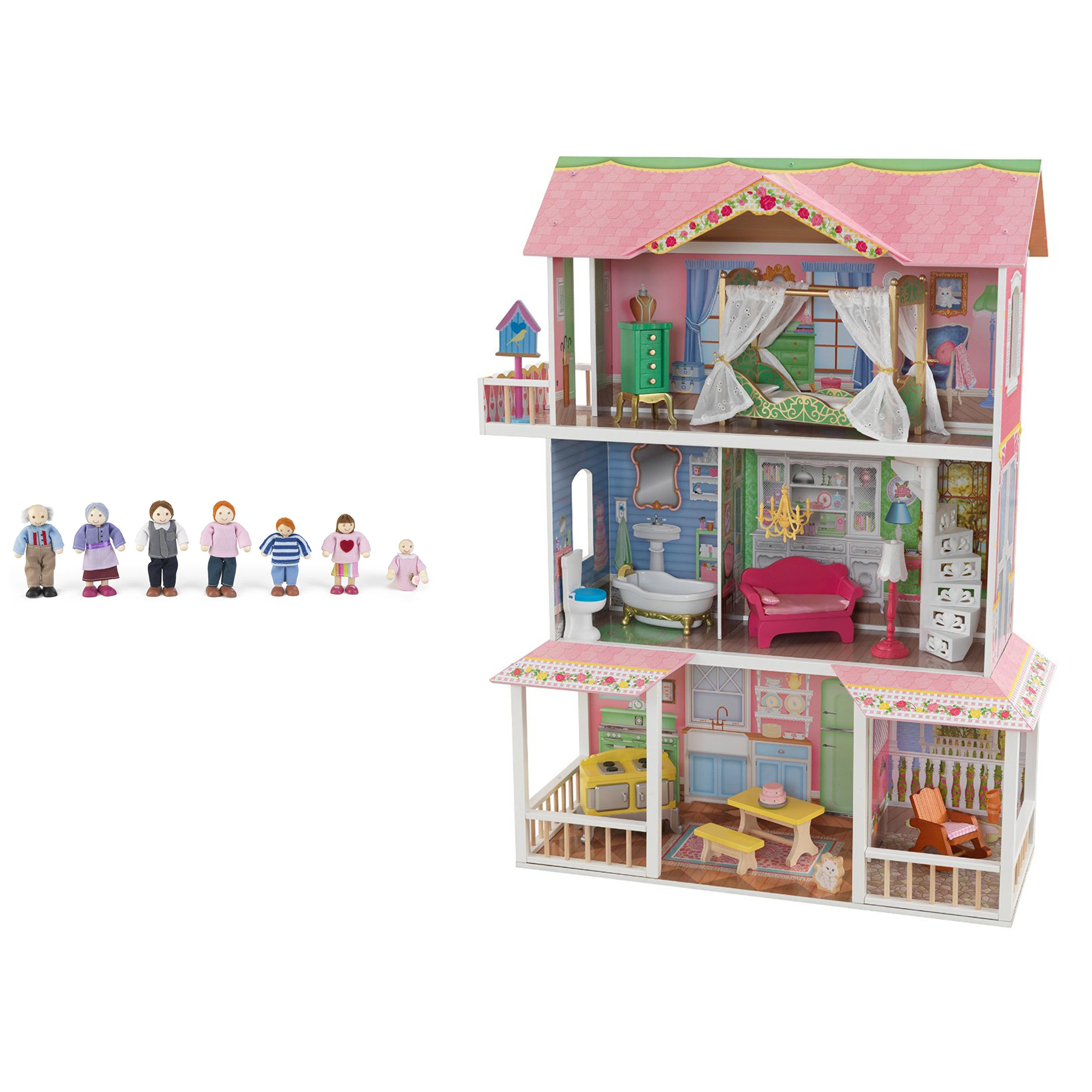Kidkraft Sweet Savannah 3 Level Wooden Dollhouse With Furniture Doll Family Ebay