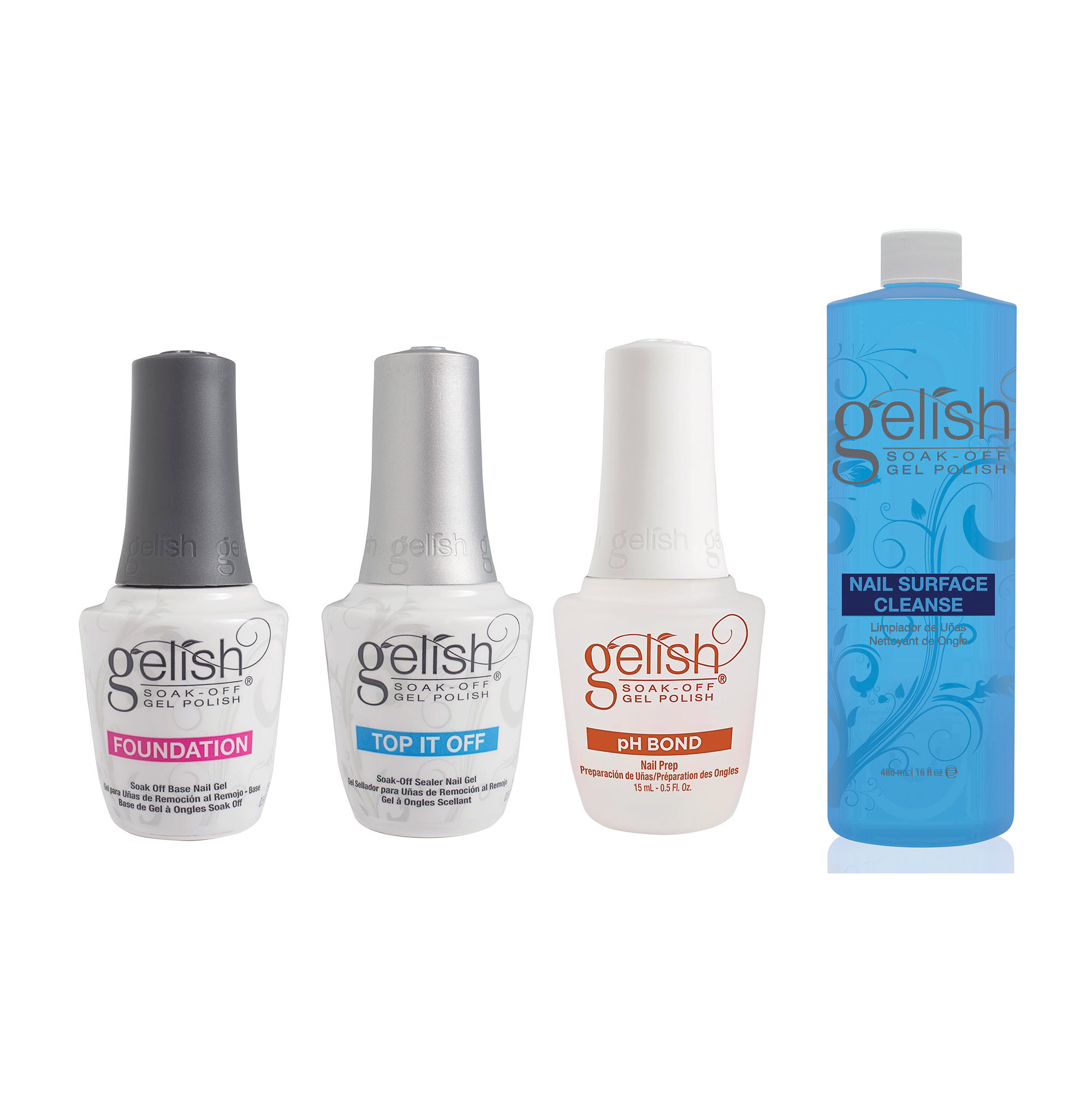 Gelish Terrific Trio Gel Polish Essentials Kit Nail Surface Cleanser Bottle