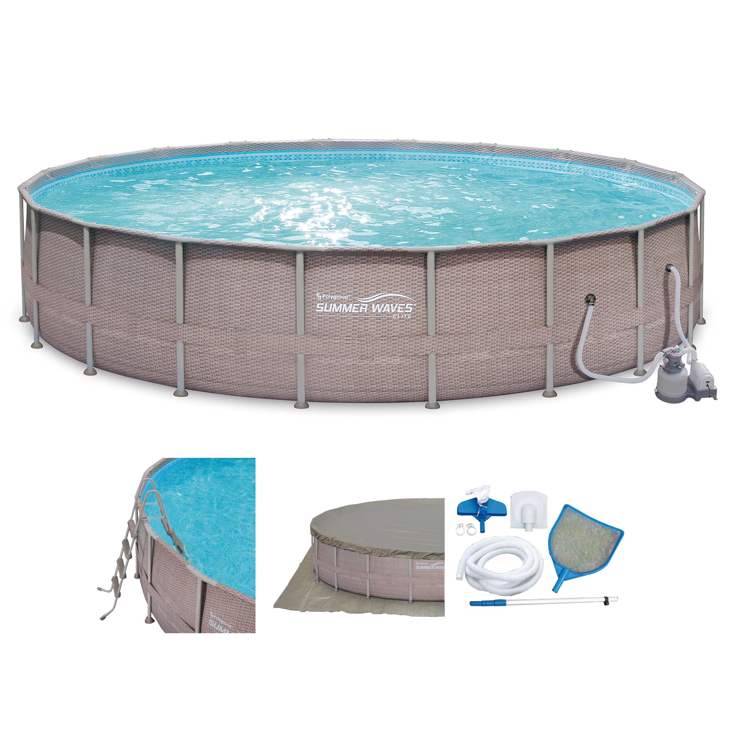 Summer waves elite wicker print 24 39 x 52 above ground for Above ground pool set