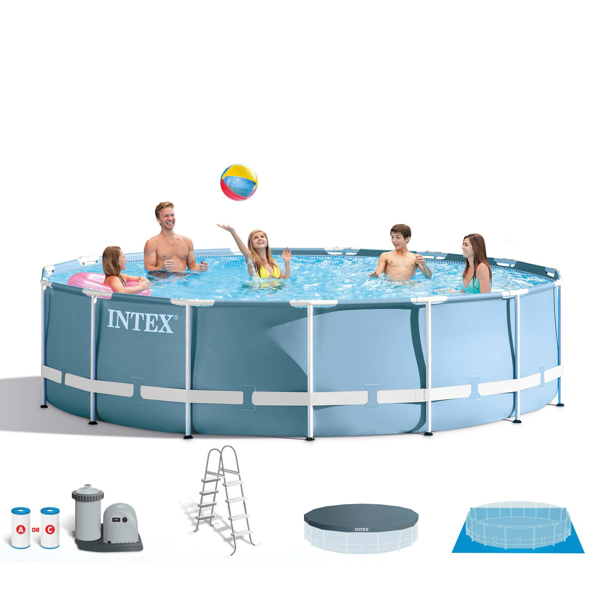 intex 18 feet x 48 inches prism frame pool set w ladder cover pump 26751eh 78257322466 ebay. Black Bedroom Furniture Sets. Home Design Ideas