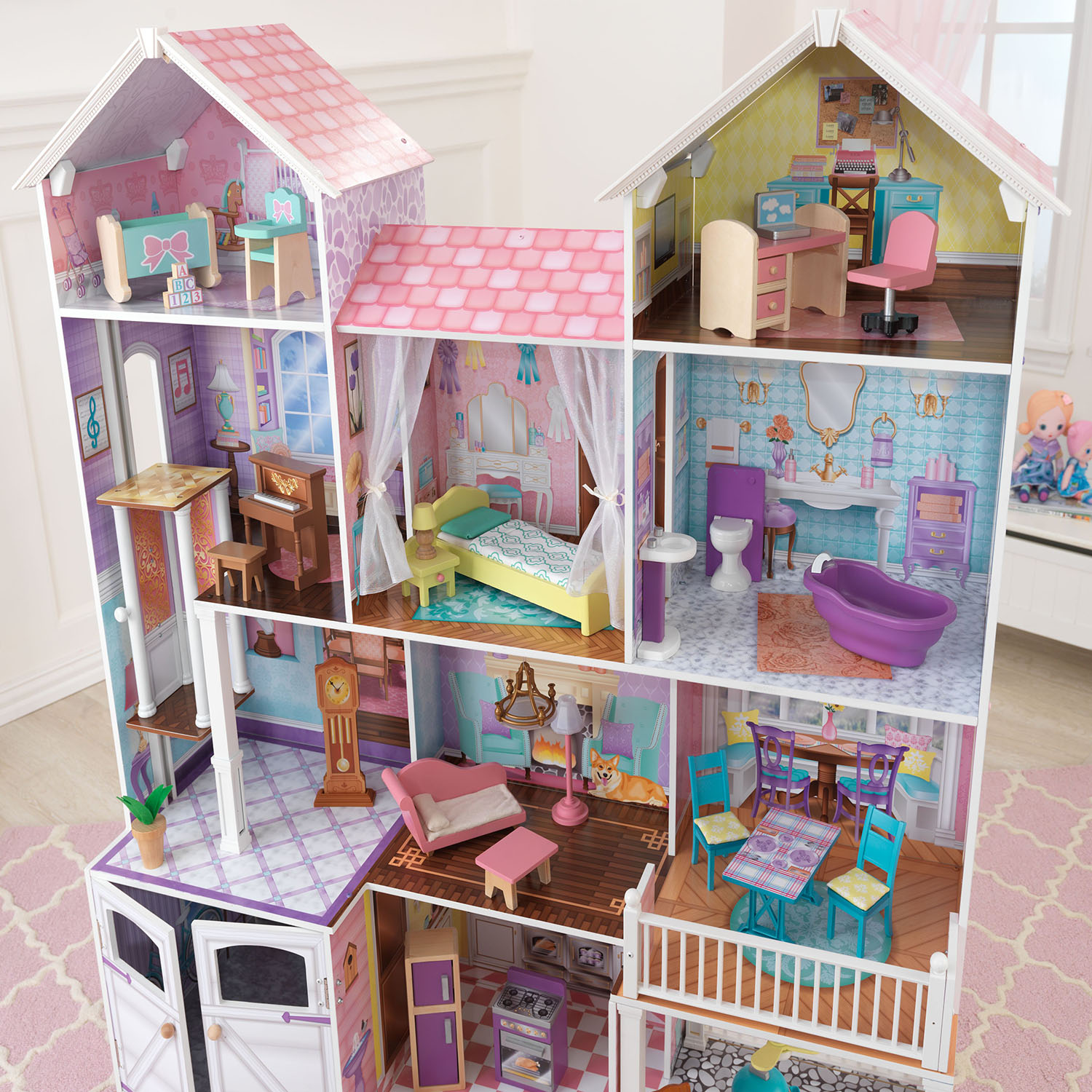 Kids craft doll house - Kidkraft Country Estates Wooden Pretend Play Dollhouse With