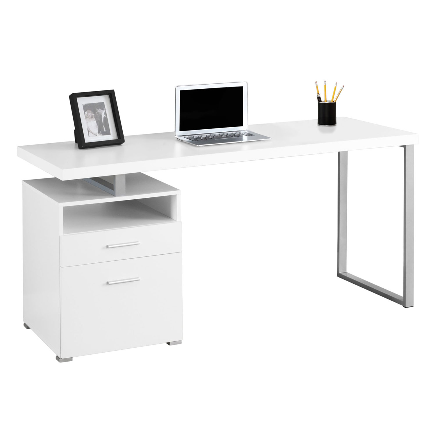 Monarch Specialties 60 Contemporary Computer Desk With Filing Drawer White