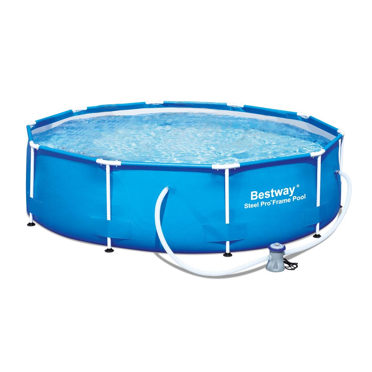 Bestway 12 39 x 36 steel pro frame above ground family swimming pool set w pump ebay - Steel frame pool ...