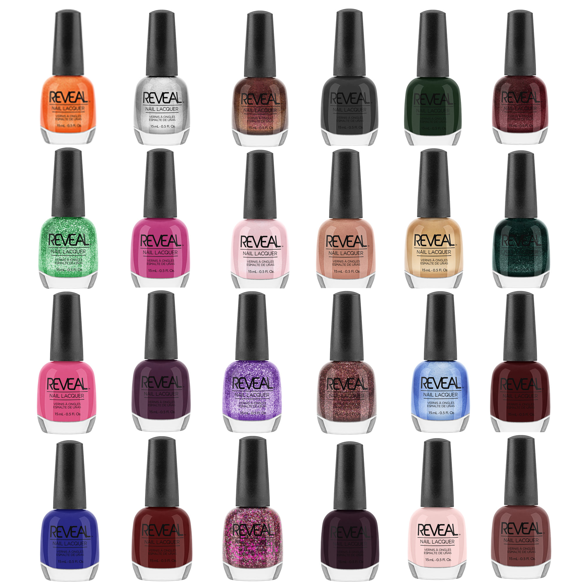 Reveal Lacquer Multi Color Full Size Salon Quality Nail Polish Gift Set 24 Pack