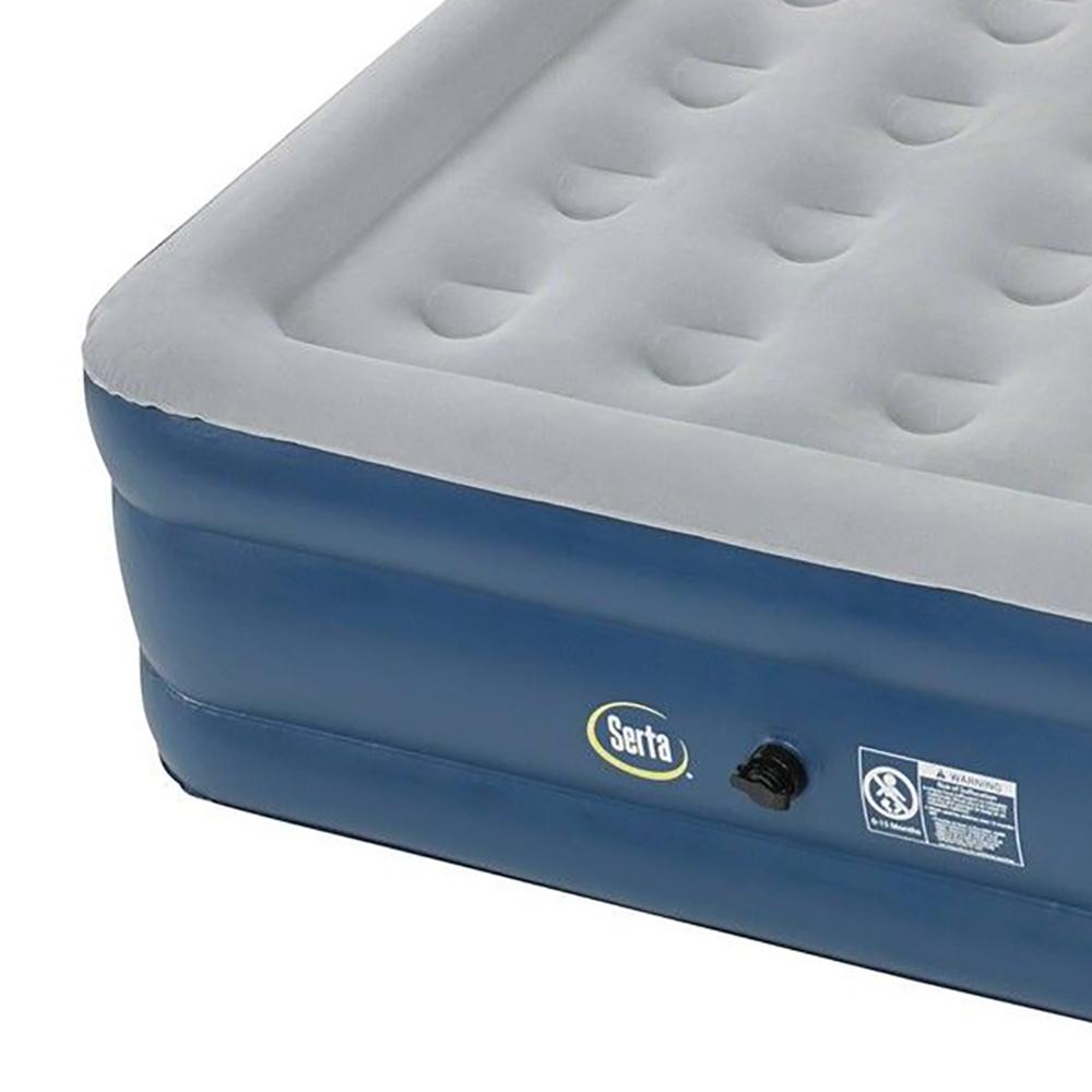 serta 18 raised queen headboard perfect sleeper air mattress with electric pump. Black Bedroom Furniture Sets. Home Design Ideas