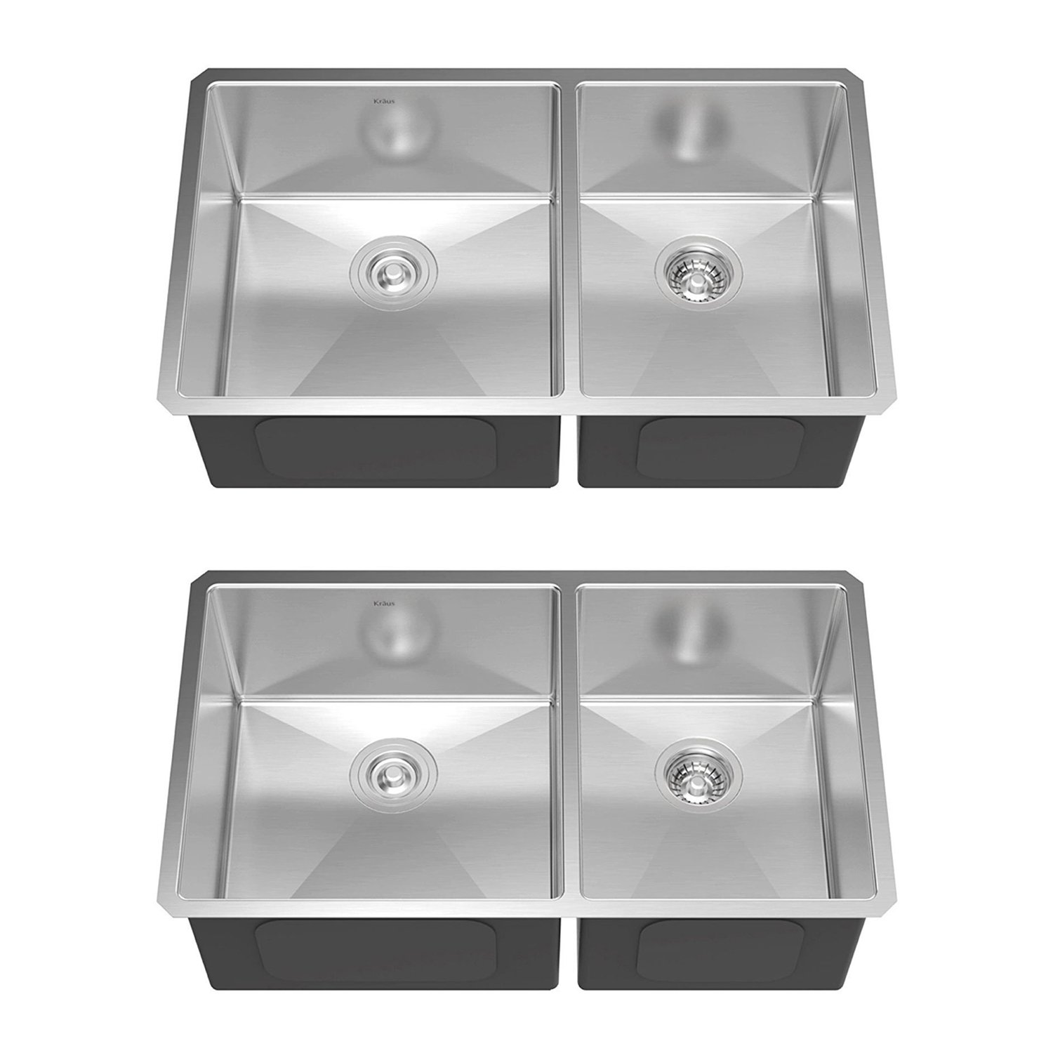 47bfc13bef Kraus 33 Inch Undermount 60/40 Double Stainless Steel Kitchen Sink (2 Pack)