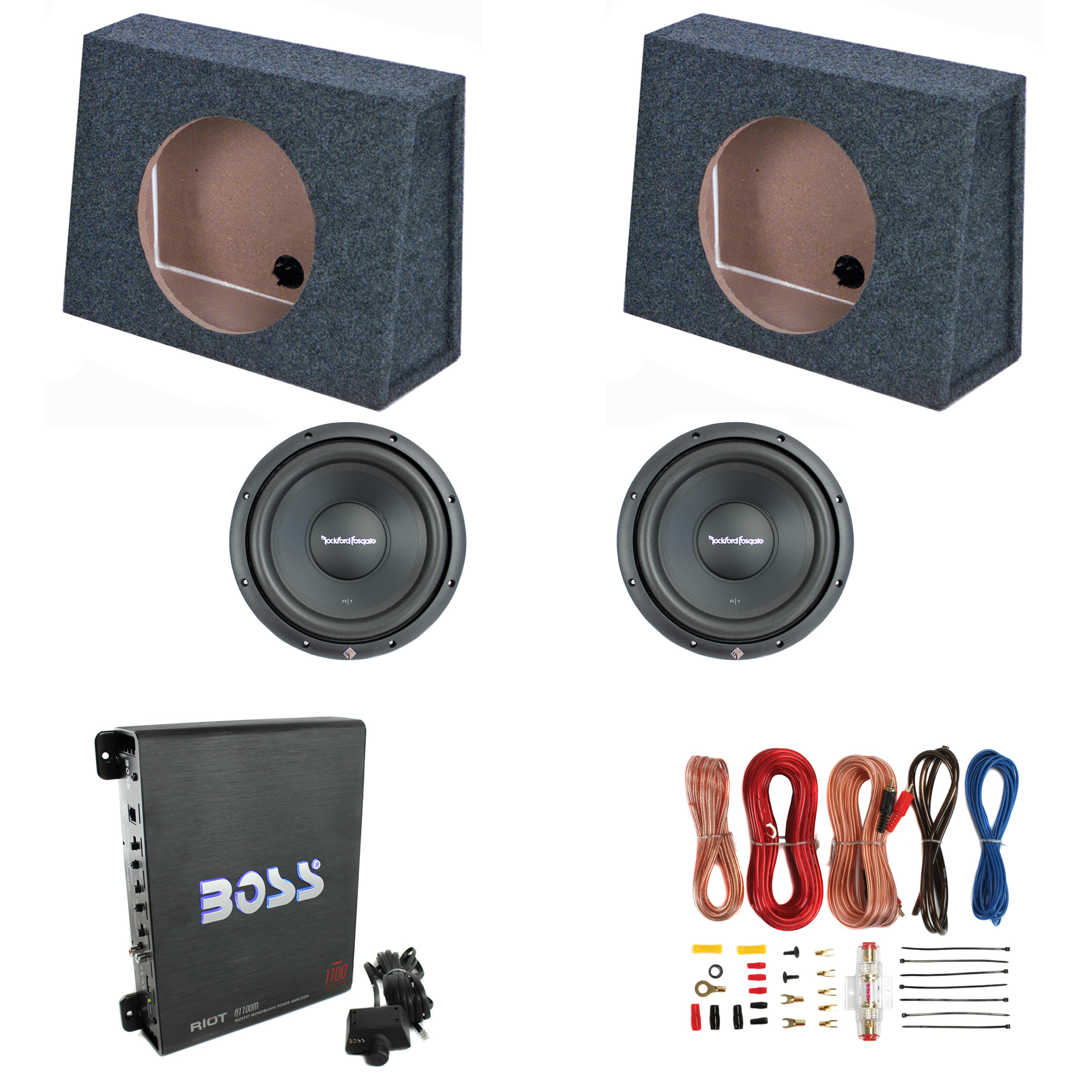 Rockford 10 Subwoofers 2 Pack Sub Boxes 1100w Powered Subwoofer Wiring 300w Power Amplifier Amp Wire Kit