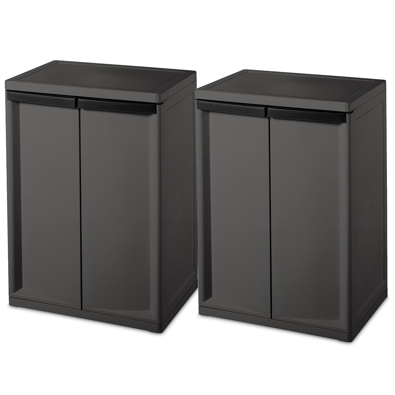 Tips For Buying Garage Utility Cabinets: Sterilite 2 Shelf Laundry Garage Utility Storage Cabinet Flat Gray 0140 (2 Pack) 842372127639
