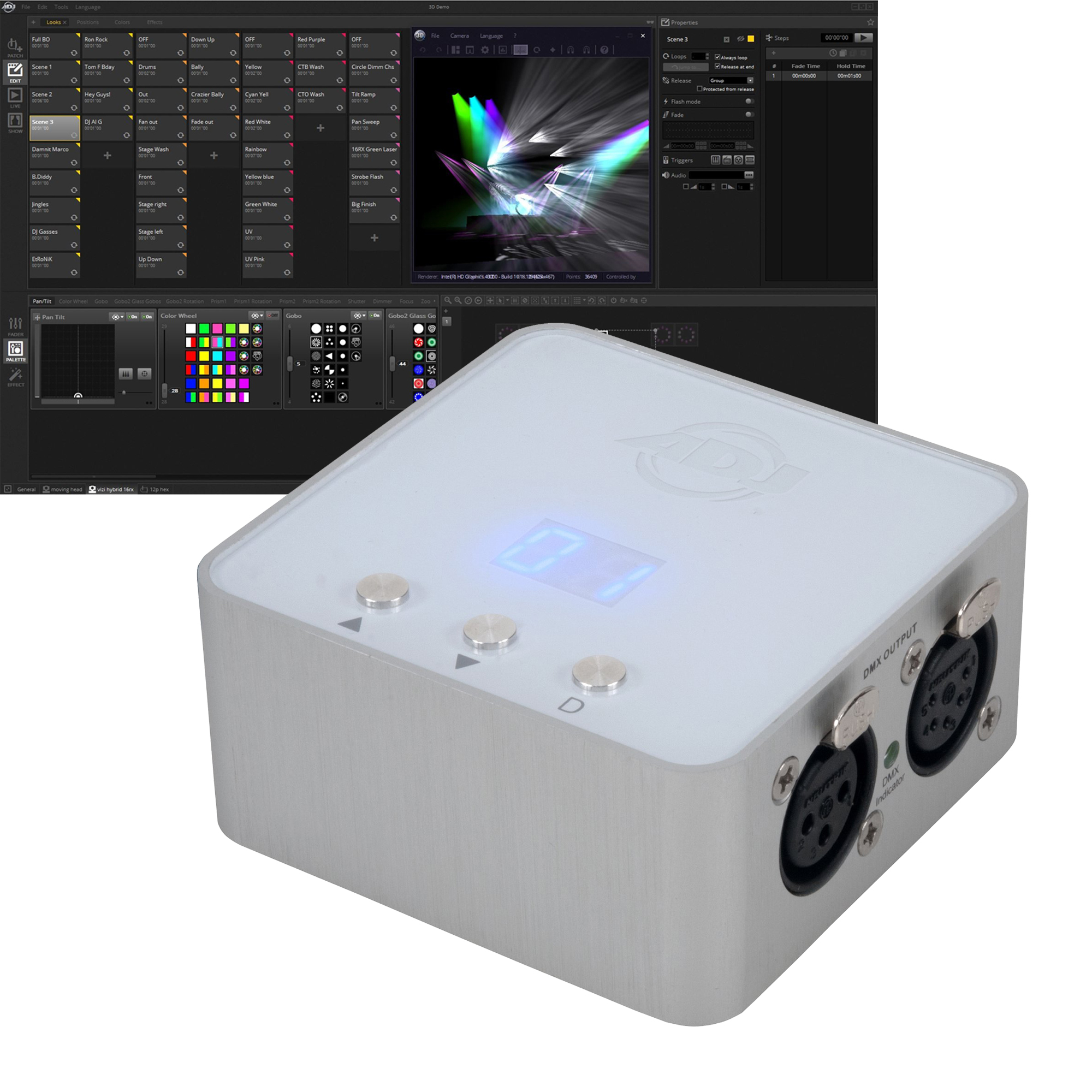 Details about American DJ MyDMX 3 0 DMX USB Lighting Interface Control  Hardware with Software