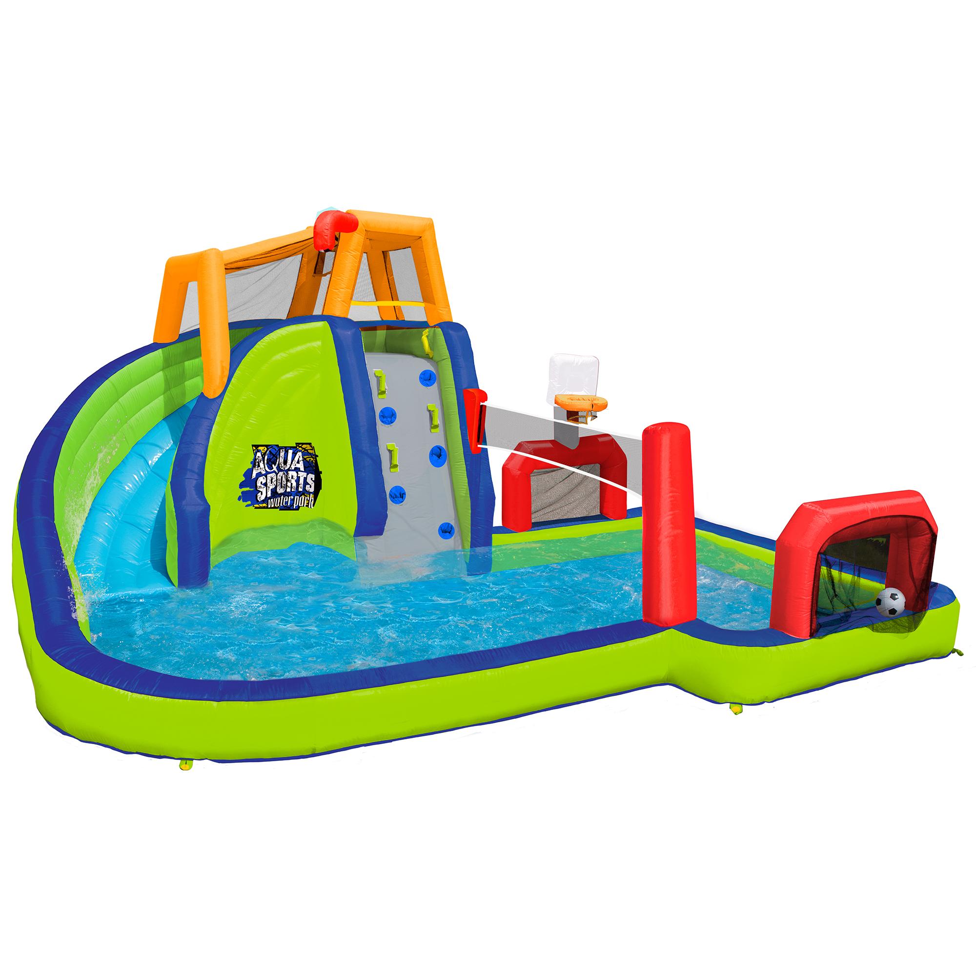 Inflatable Water Slides Llc: Banzai Inflatable Aqua Sports Splash Kiddie Pool And Slide