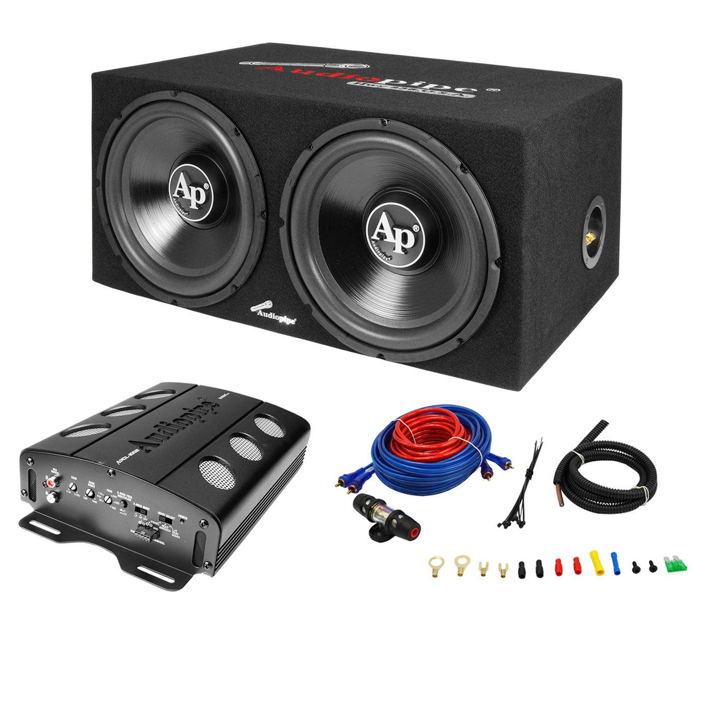 Cheap Car Audio Packages >> Details About Audiopipe Apsb 1299pp Loaded Dual 12 Subs Amp And Wire Kit Car Audio Package