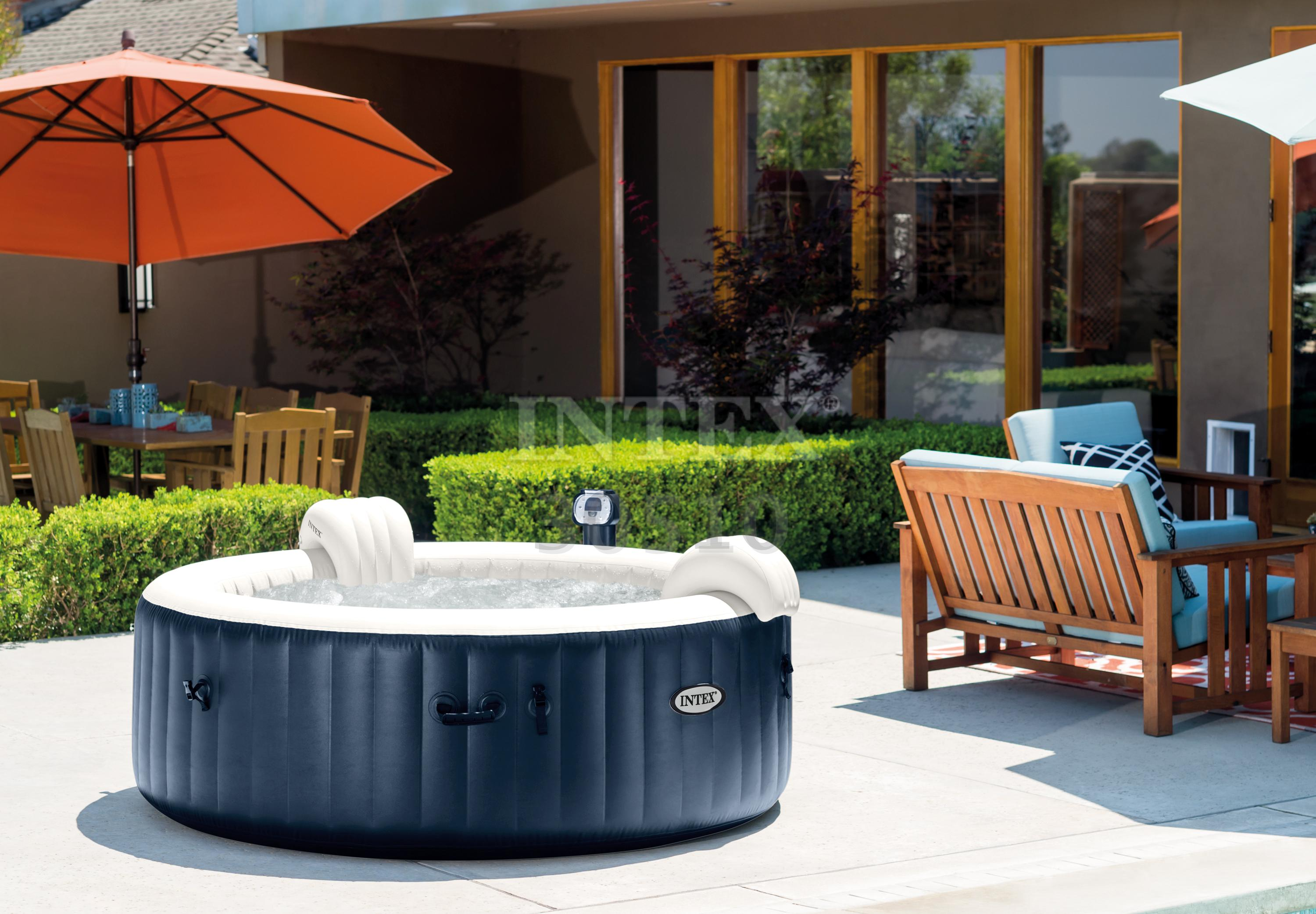 intex pure spa 6 person inflatable portable heated bubble hot tub 28409e ebay. Black Bedroom Furniture Sets. Home Design Ideas