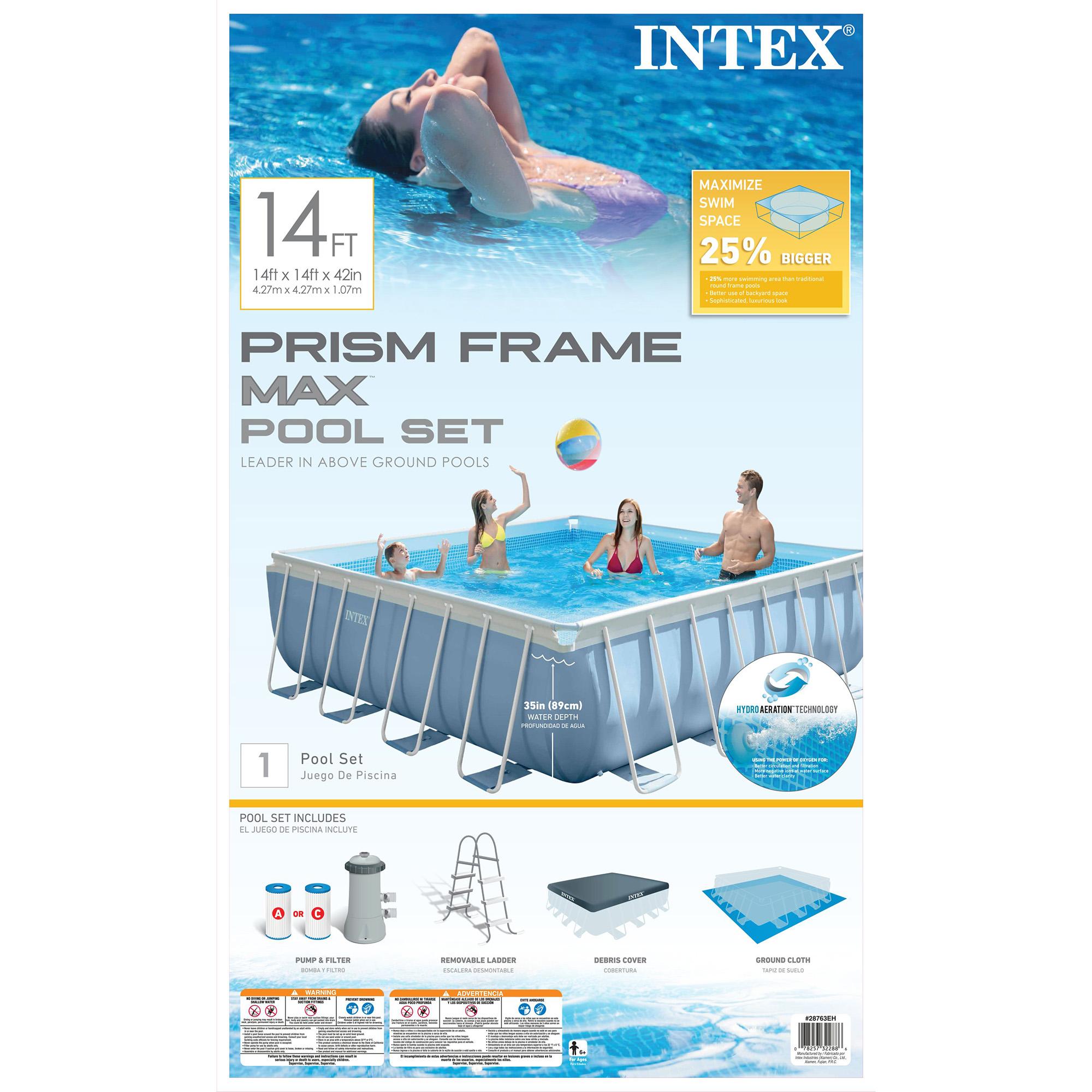 intex 14 39 x 42 prism xl frame square above ground pool. Black Bedroom Furniture Sets. Home Design Ideas