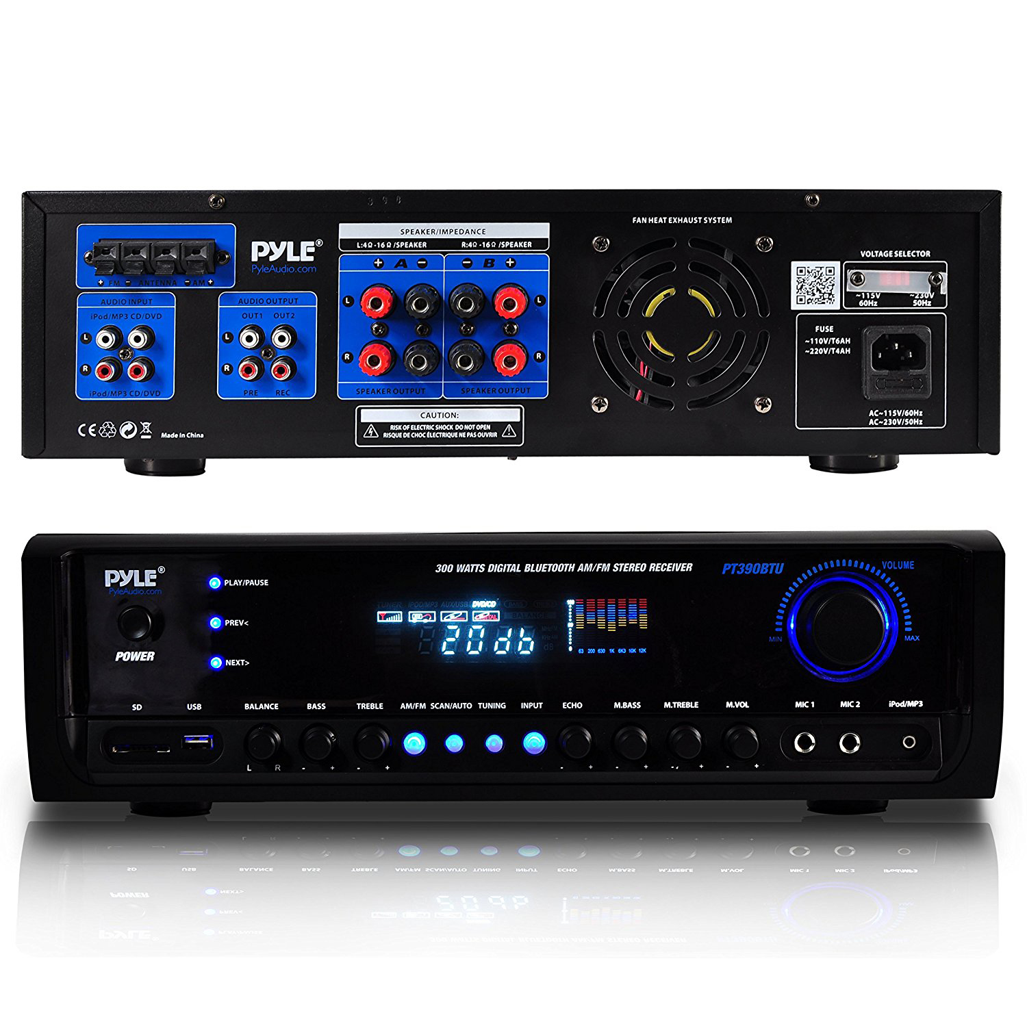 pyle digital home theater bluetooth 4 channel radio aux. Black Bedroom Furniture Sets. Home Design Ideas