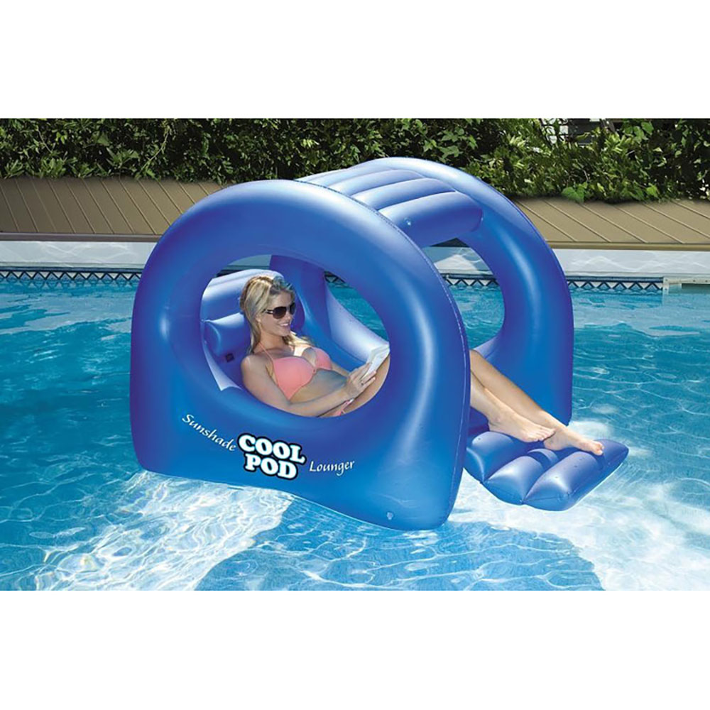 Swimline Sunshade Cool Pod Inflatable Swimming Pool Float Lounger Blue 90495 Ebay