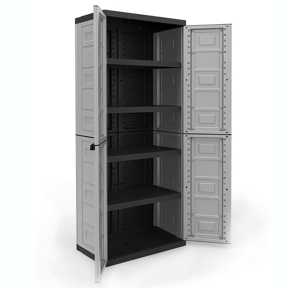 Contico 4 shelf plastic garage storage organizer base utility cabinet gray