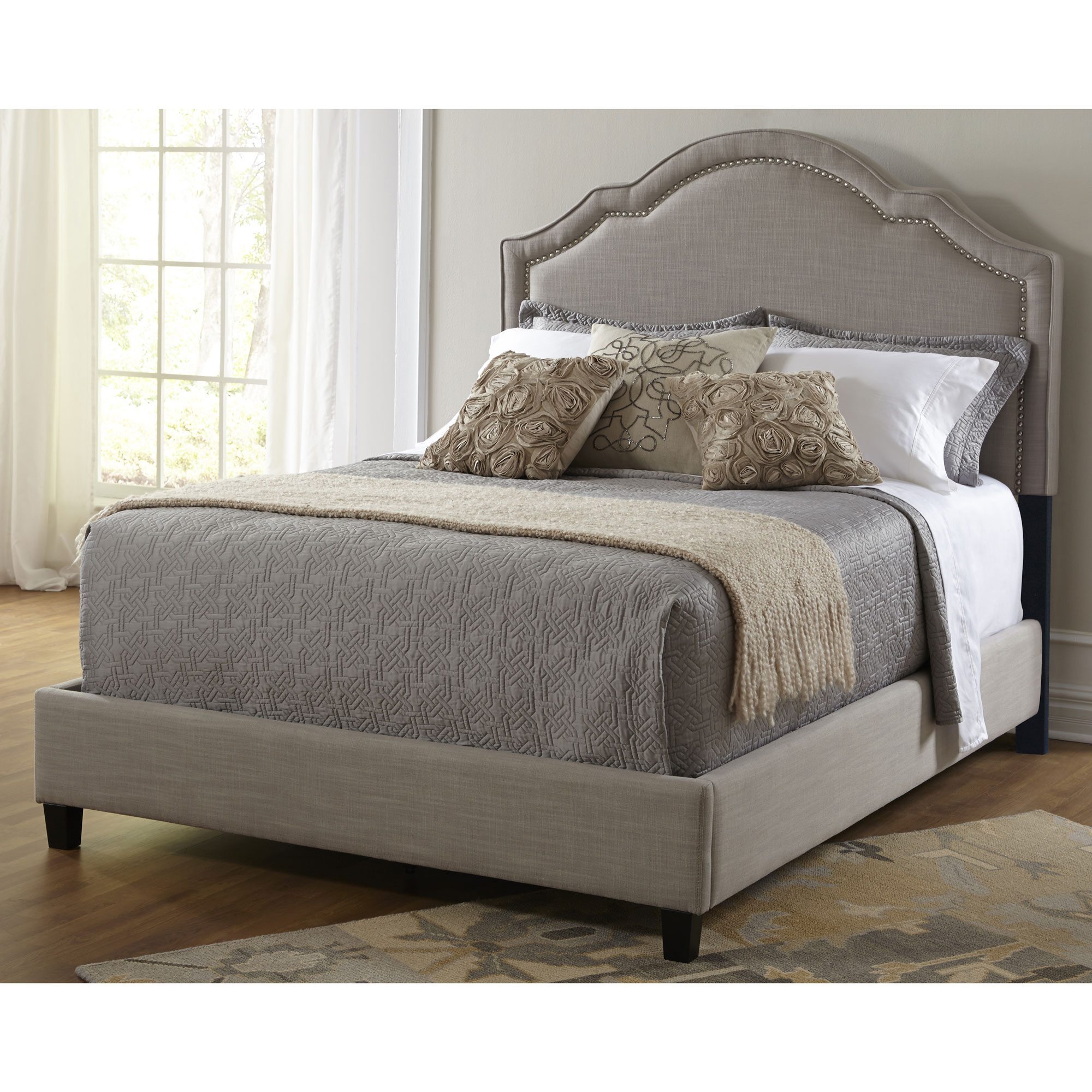 Pulaski accentrics home shaped nailhead upholstered headboard for king size bed ebay Home furniture queen size bed