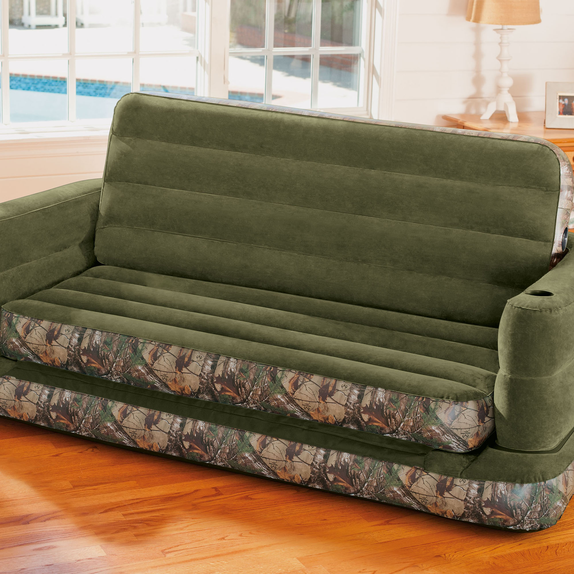 Inflatable Sleeper Sofa Bed: Intex Inflatable RealTree Camo Print Queen Size Pull-Out