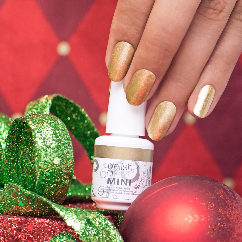 Gelish Mini Little Miss Nutcracker Winter Gel Nail Polish Set Gold