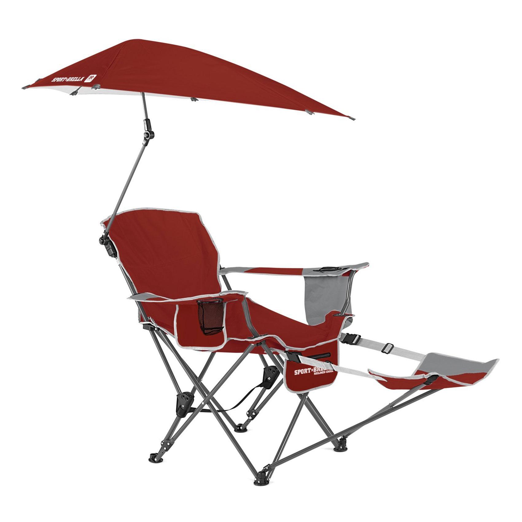 Sport Brella Portable Sun Shelter Weather Umbrella Recliner Folding Chair Red