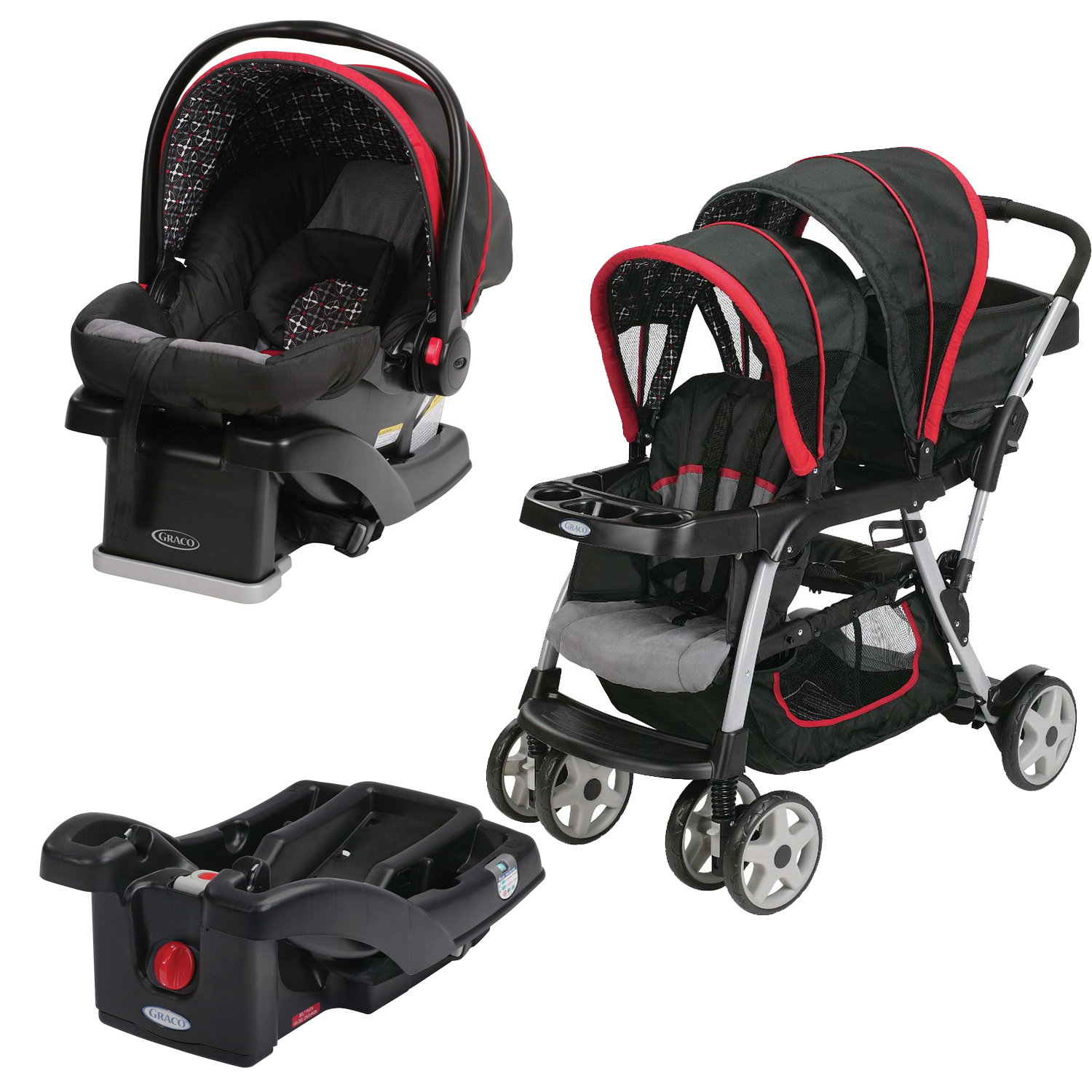 graco ready2grow double stroller with snugride car seat extra base marco ebay. Black Bedroom Furniture Sets. Home Design Ideas