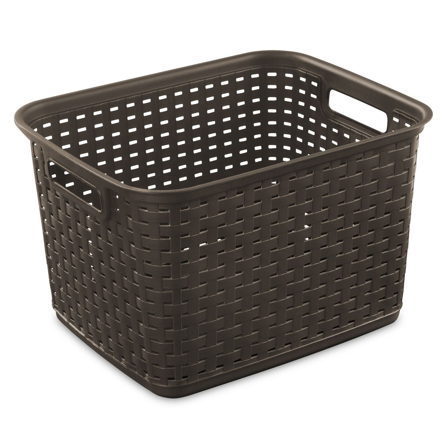 sterilite 12736 tall wicker weave plastic laundry storage basket brown 6 pack 692619984675 ebay. Black Bedroom Furniture Sets. Home Design Ideas