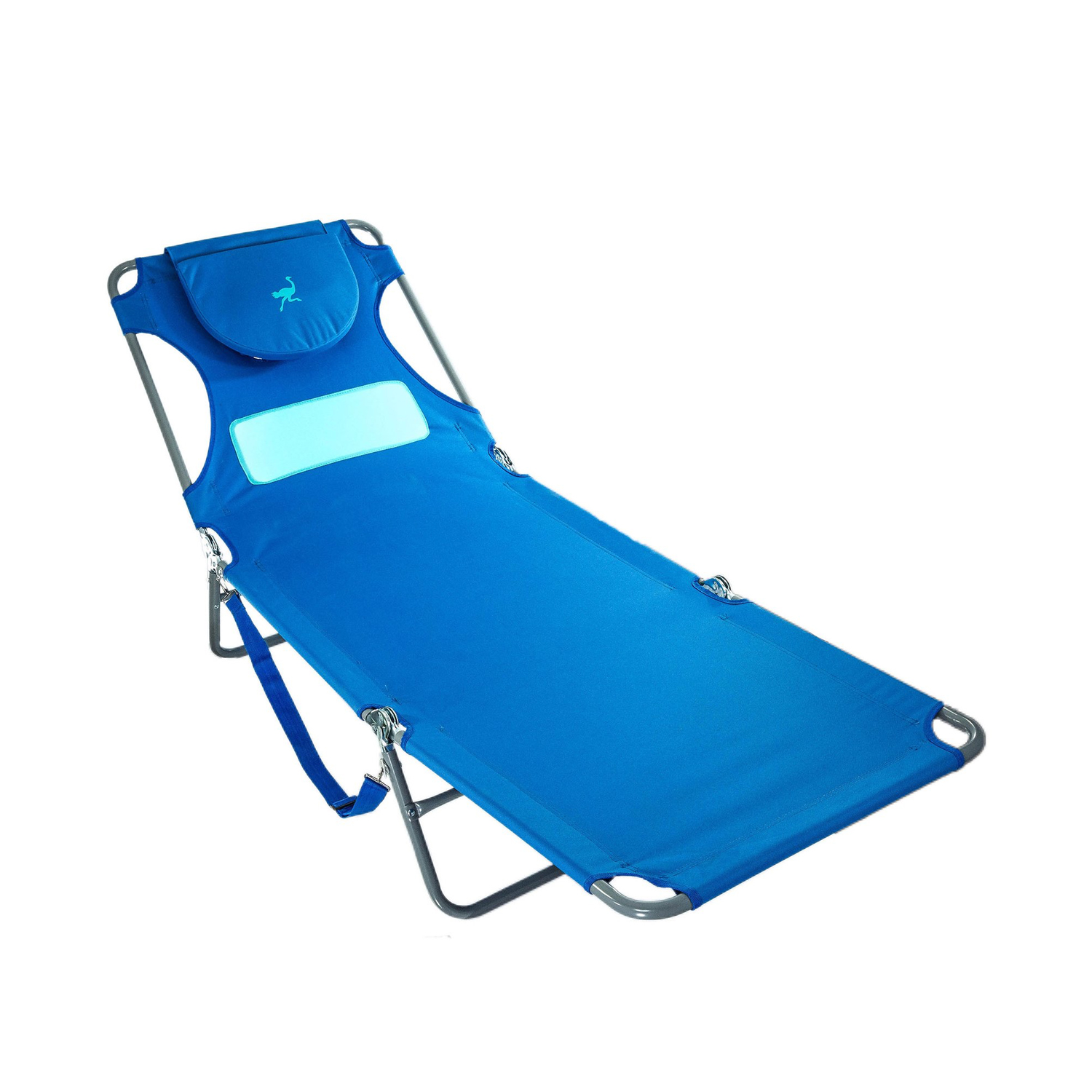 Comfort Lounger Face Down Sunbathing Chaise Lounge Beach Chair Blue