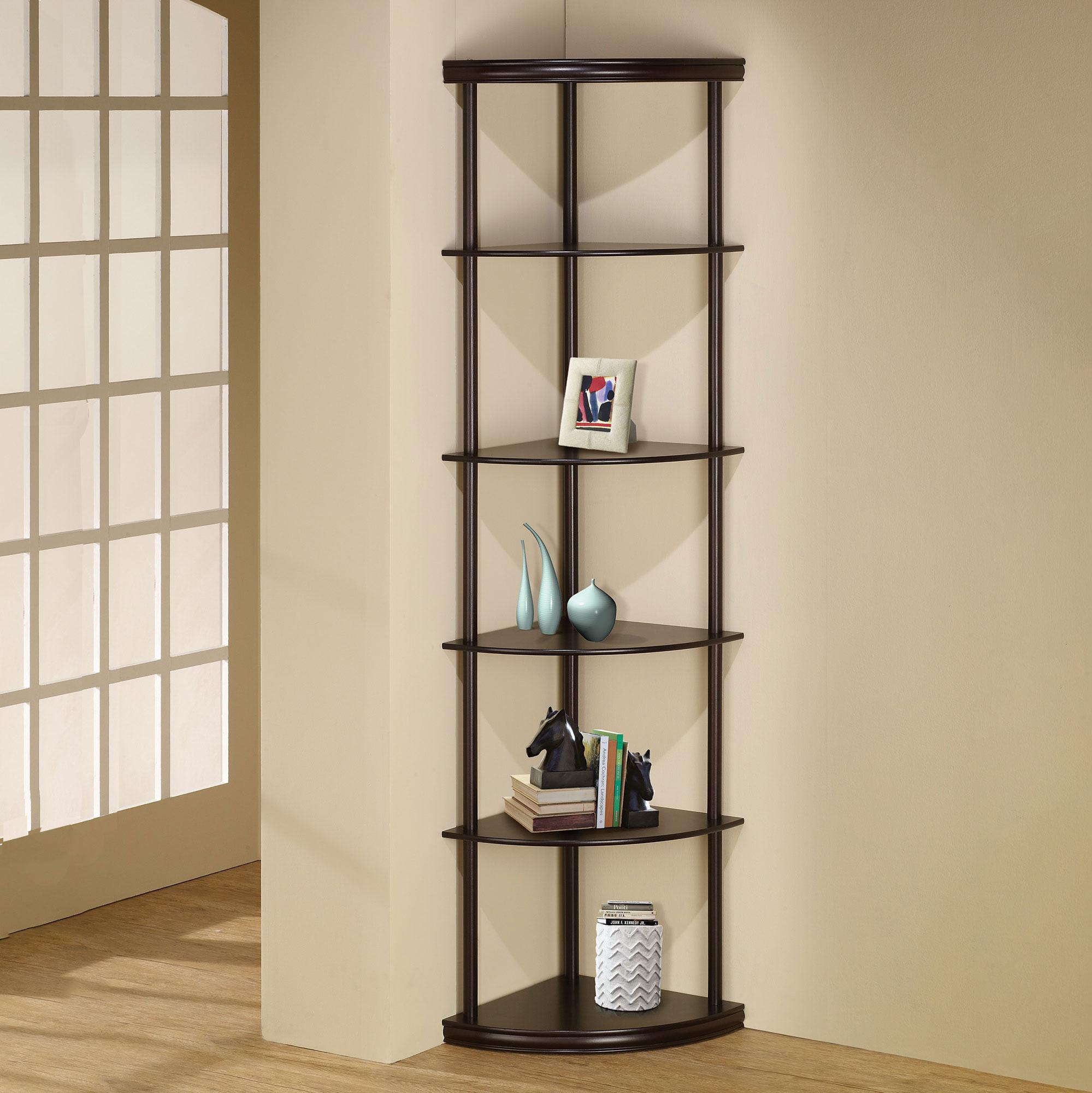 Coaster Home Furniture Contemporary Corner Bookshelf Bookcase Cappuccino Brown