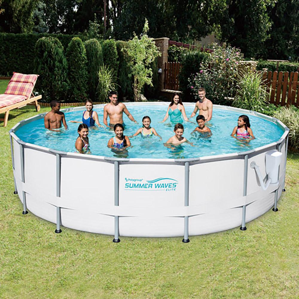 Summer Waves Elite 18 39 Foot Metal Frame Above Ground Pool Set With Filter Pump Ebay