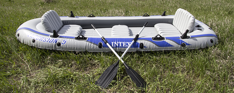 Intex excursion 5 inflatable rafting fishing dinghy boat for Wood floor intex excursion 5