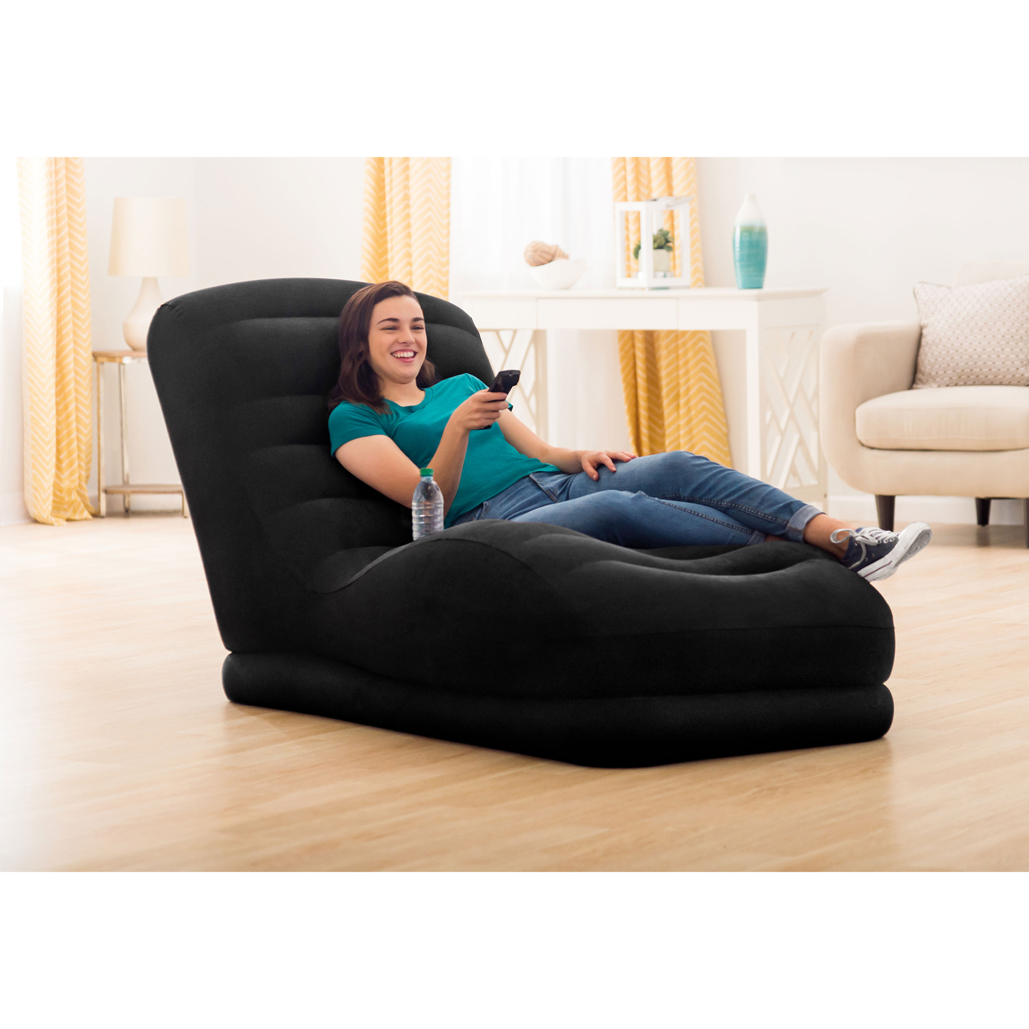 Intex Inflatable Contoured Mega Lounge Chair With Built In Cup Holder Black