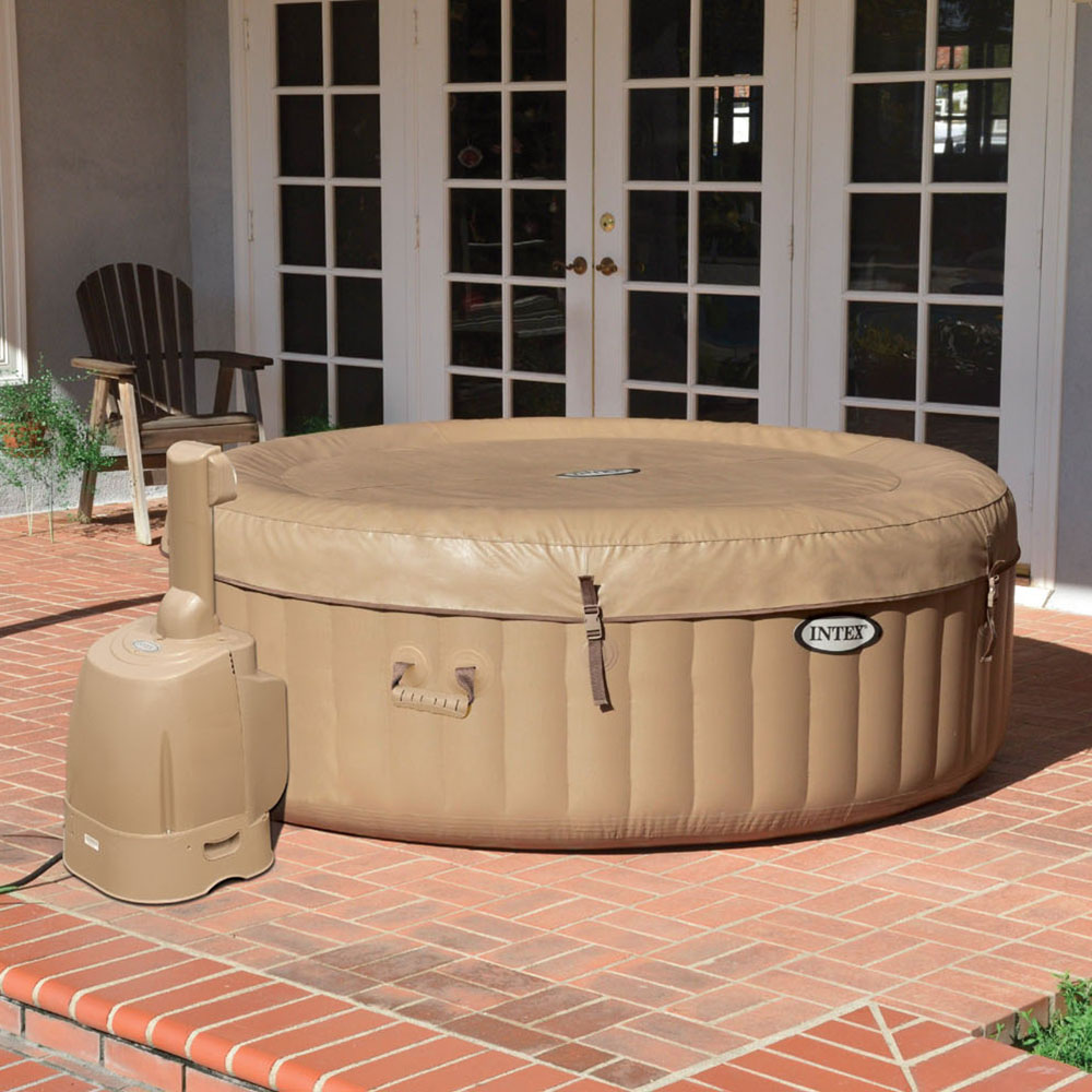 intex purespa 4 person inflatable bubble jet spa portable hot tub tan 28403e ebay. Black Bedroom Furniture Sets. Home Design Ideas