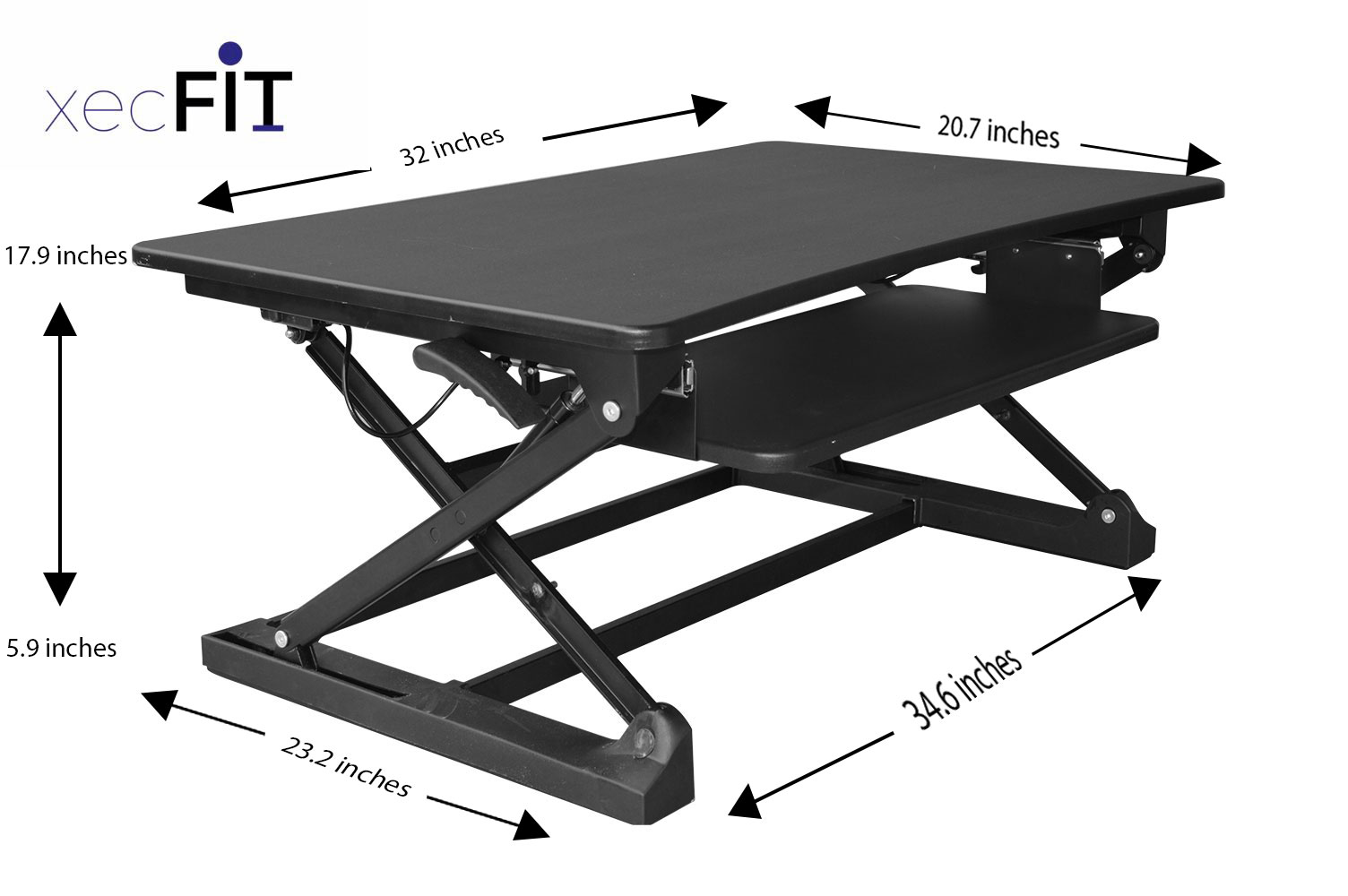 detailed look 4cc6f d5252 Details about xec-FIT Adjustable Height Convertible Sit to Stand Up Desk  Laptop Desktop Riser