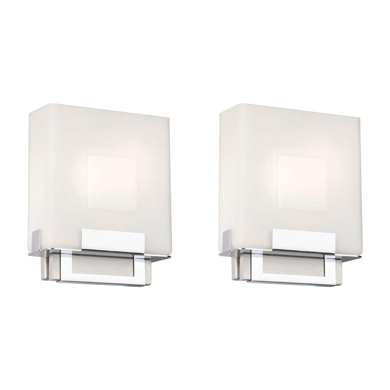 Details About Phillips Forecast Lighting Square Bathroom Sconce Light Satin Nickel 2 Pack