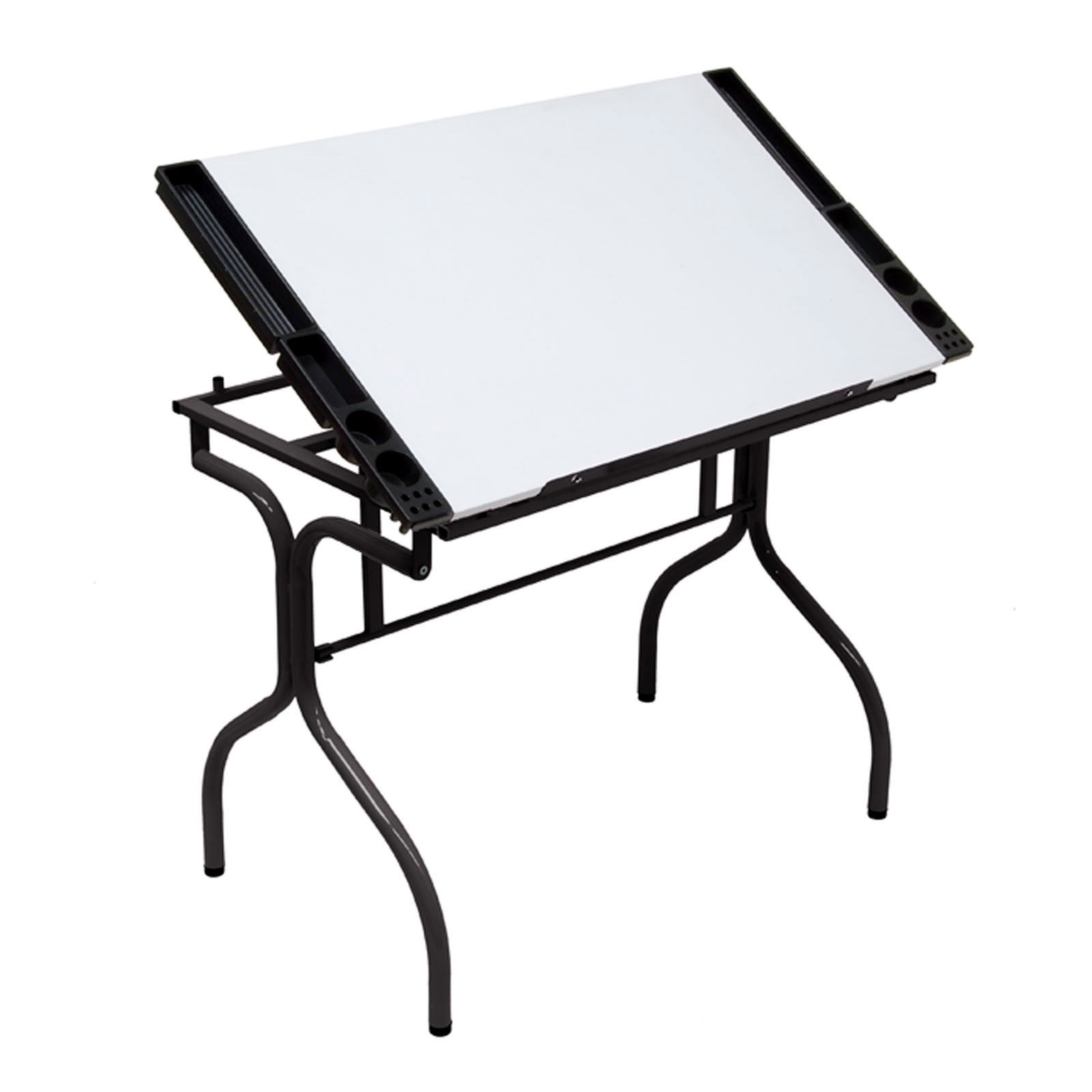 Studio Design Safety Glass Folding Art Drafting Desk Station Craft Table White