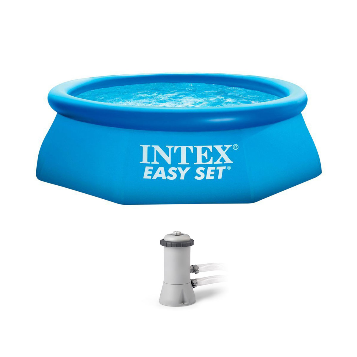 intex 8 39 x 30 easy set inflatable above ground polygonal pool with filter pump ebay. Black Bedroom Furniture Sets. Home Design Ideas