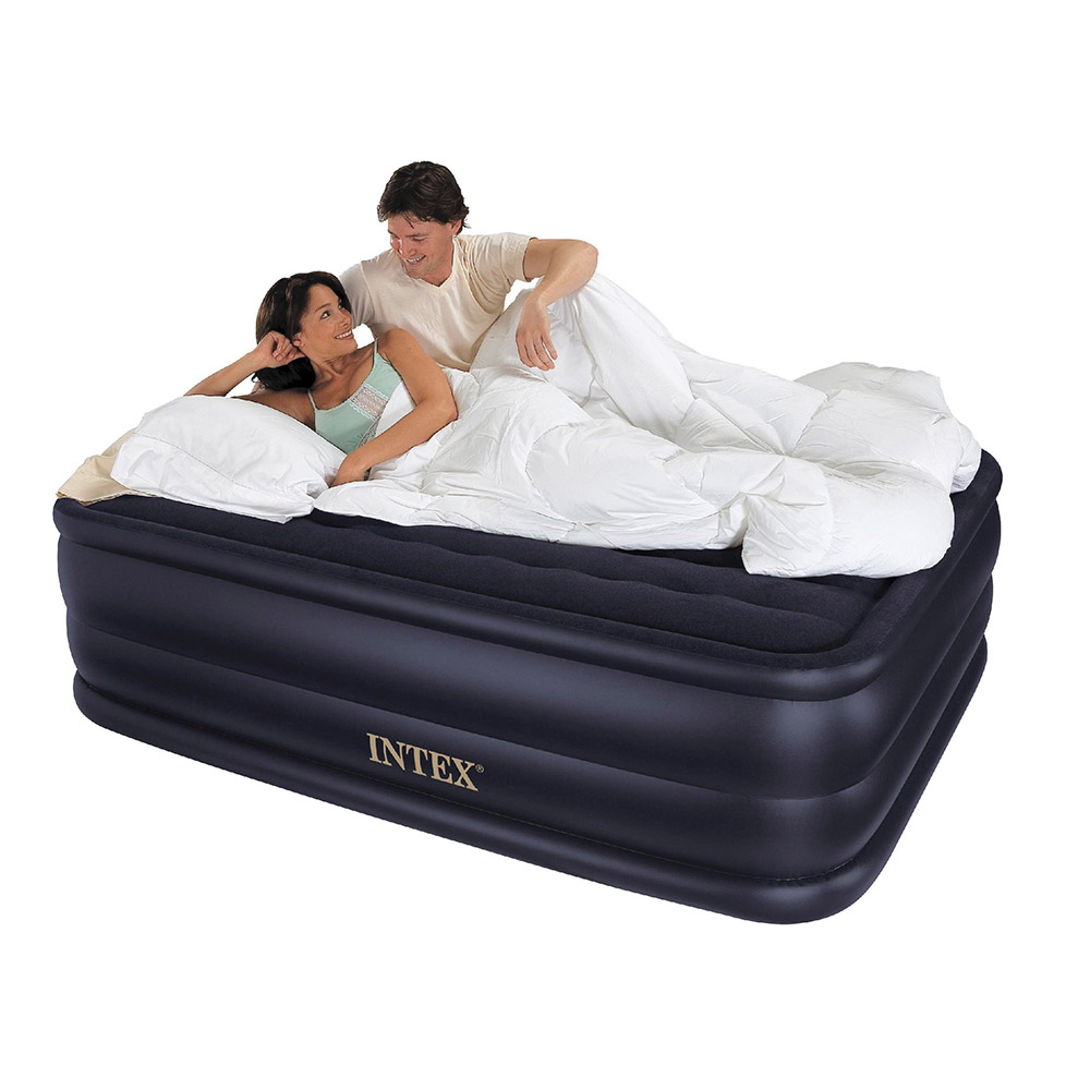 Intex Queen Raised Downy Inflatable Indoor Air Mattress Bed With