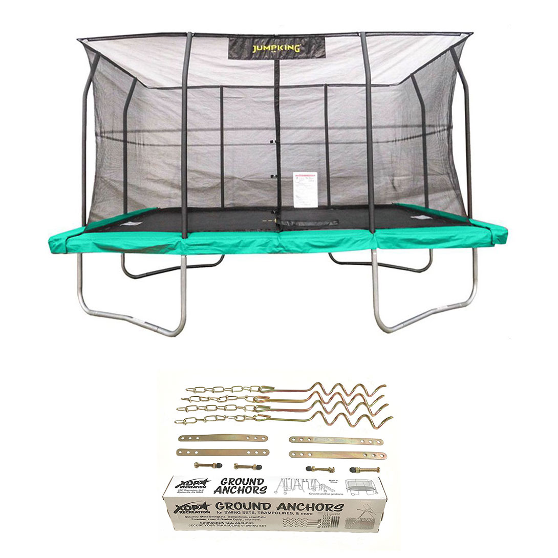JumpKing 10x14 Foot Trampoline W/ Safety Net And