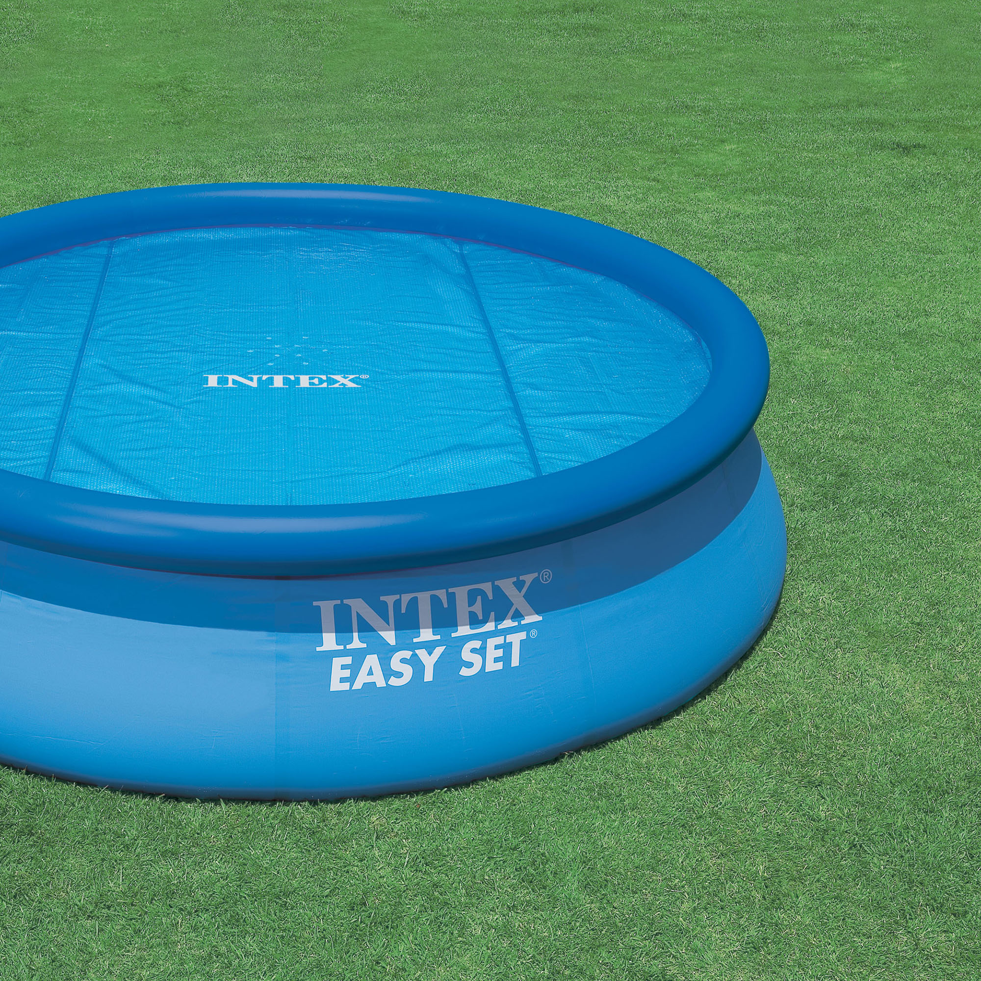 intex 15 foot round easy set vinyl solar cover for swimming pools blue 29023e ebay. Black Bedroom Furniture Sets. Home Design Ideas