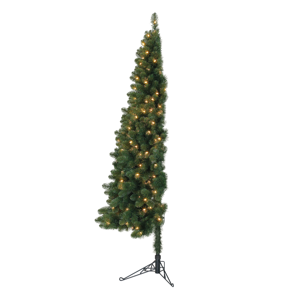 Pre Lit Half Christmas Tree: Home Heritage 7' Pre-Lit PVC Artificial Half Christmas