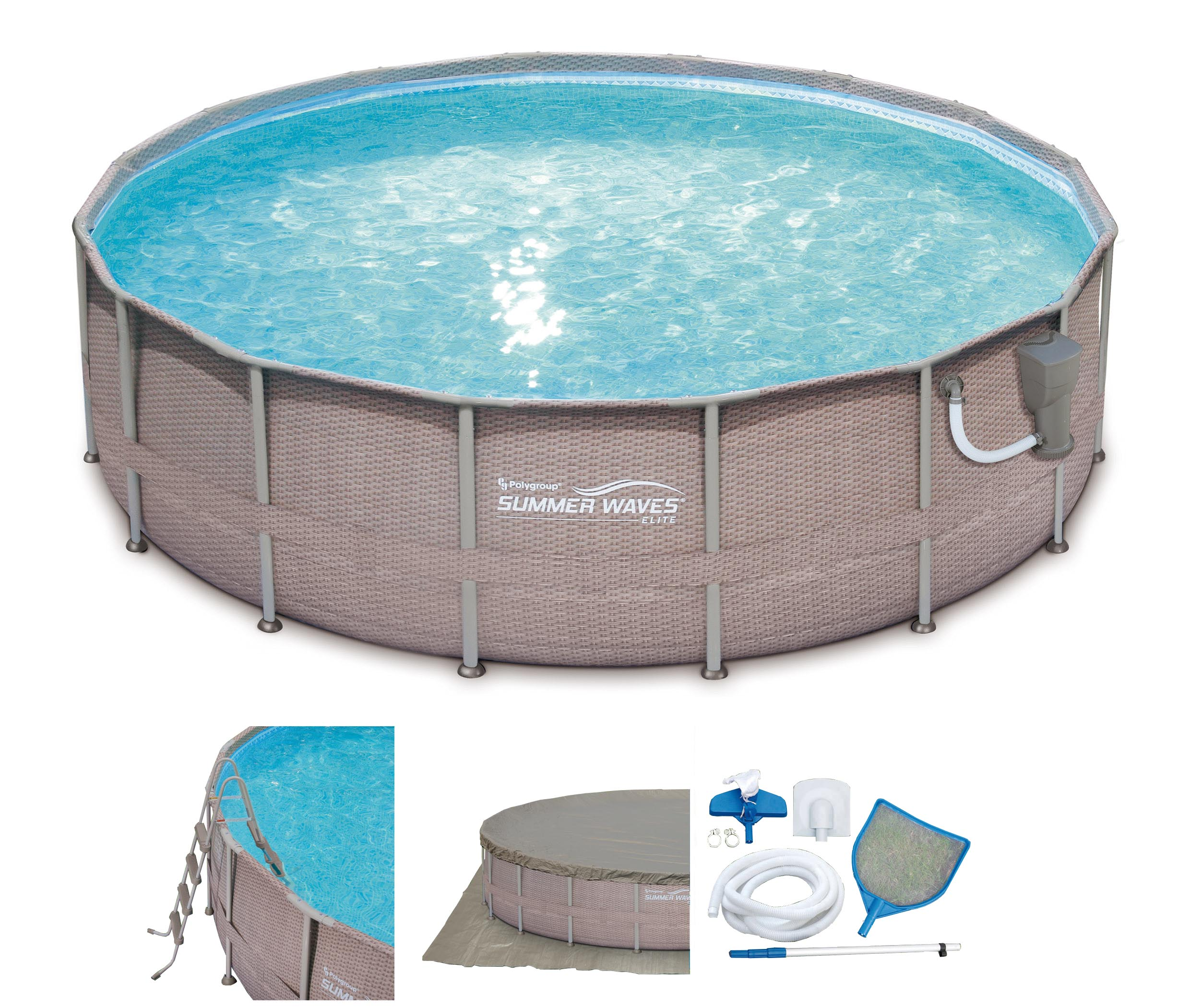"""Summer Waves 18' x 48"""" Above Ground Frame Pool Set with ..."""